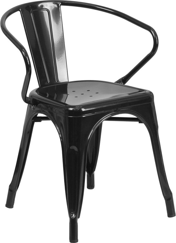 Black Steel Arm Chair