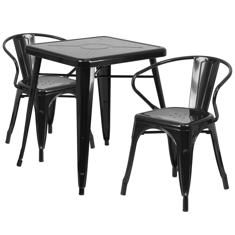 """24"""" Square Metal Cafe Table with Two Arm Chairs"""