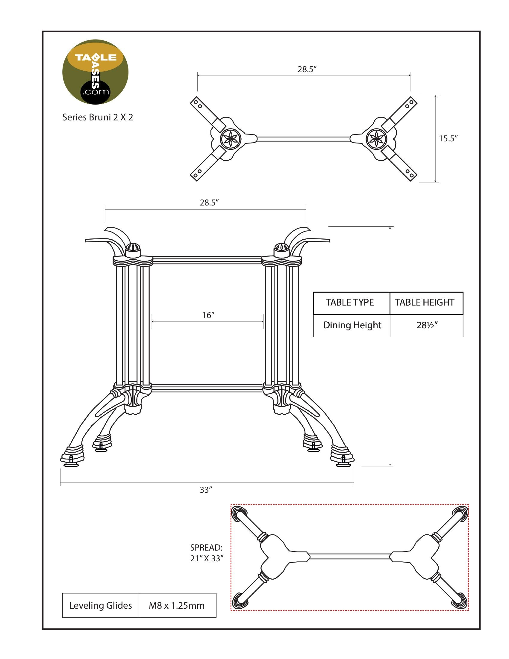 Bruni 2 x 2 Table Base Specifications