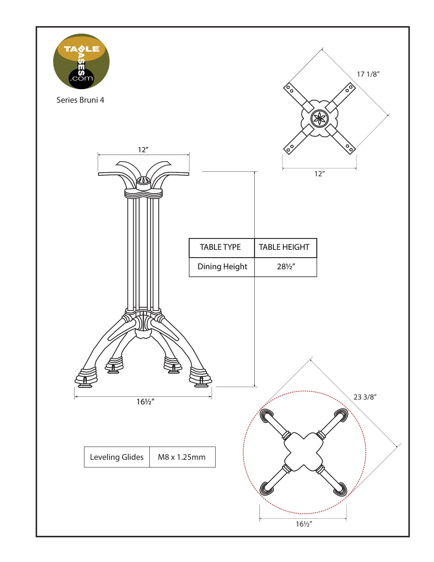 Bruni 4 Table Base Specifications