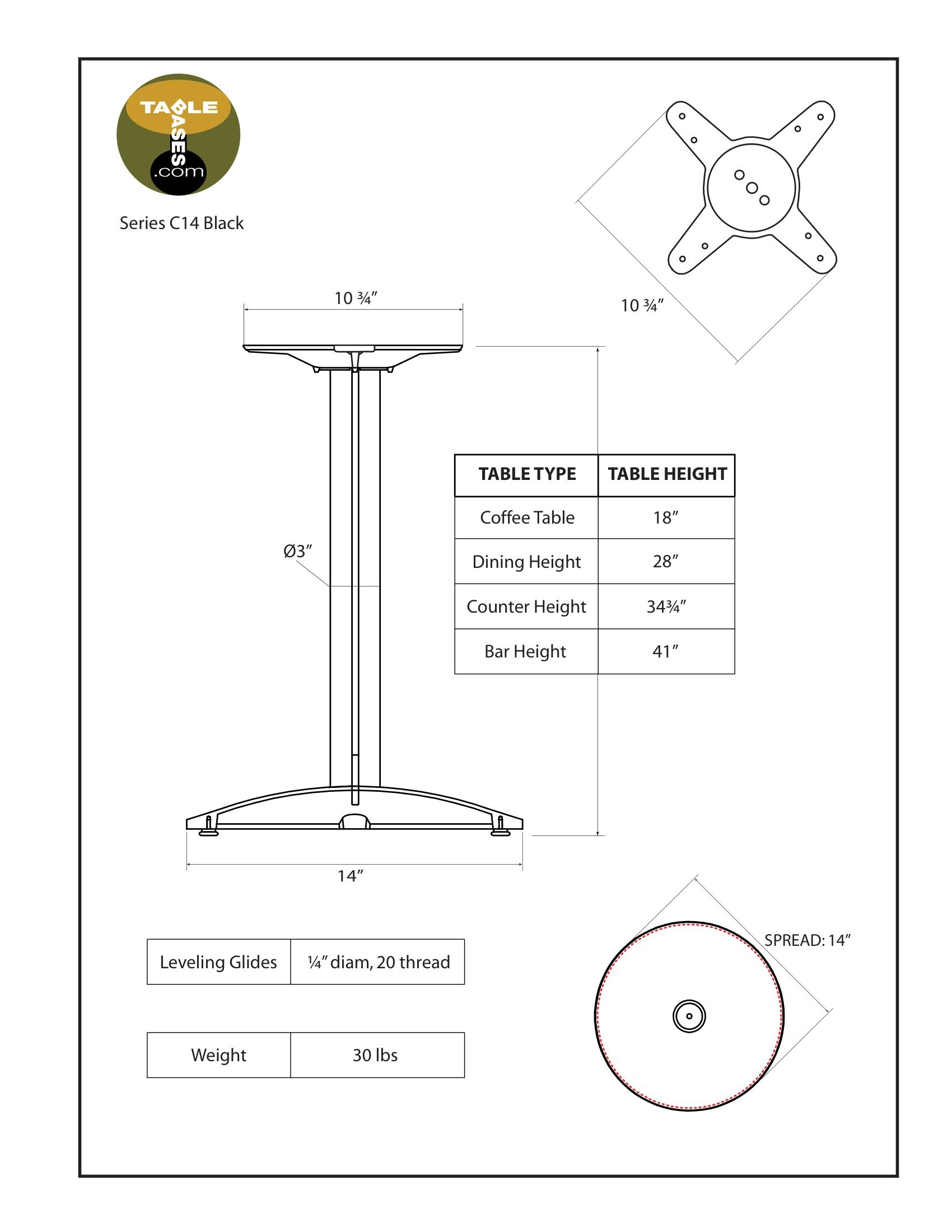 C14 Black Table Base - Specifications