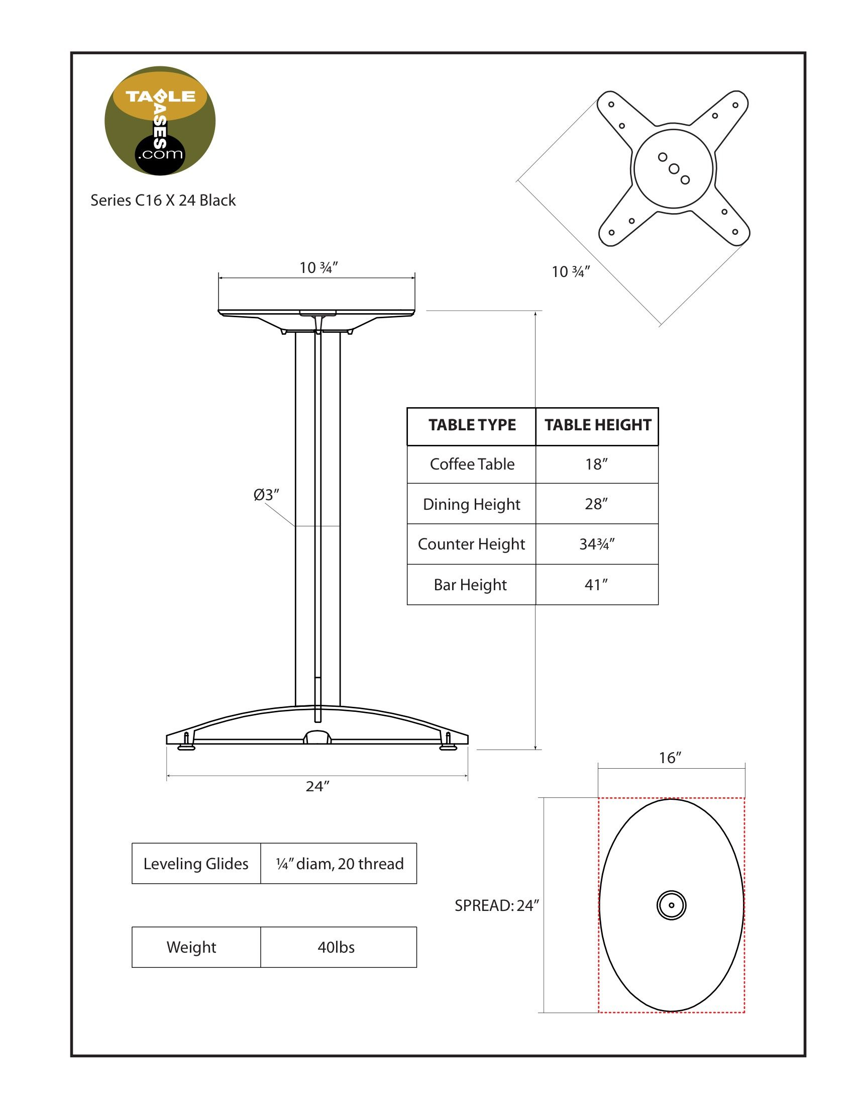 C16x24 Black Table Base - Specifications