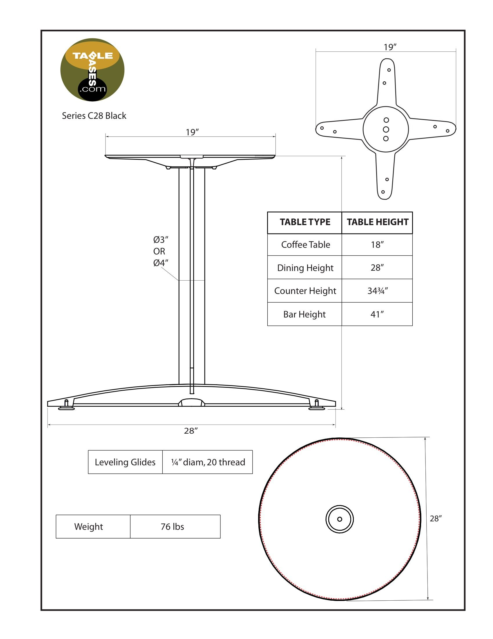 C28 Black Table Base - Specifications