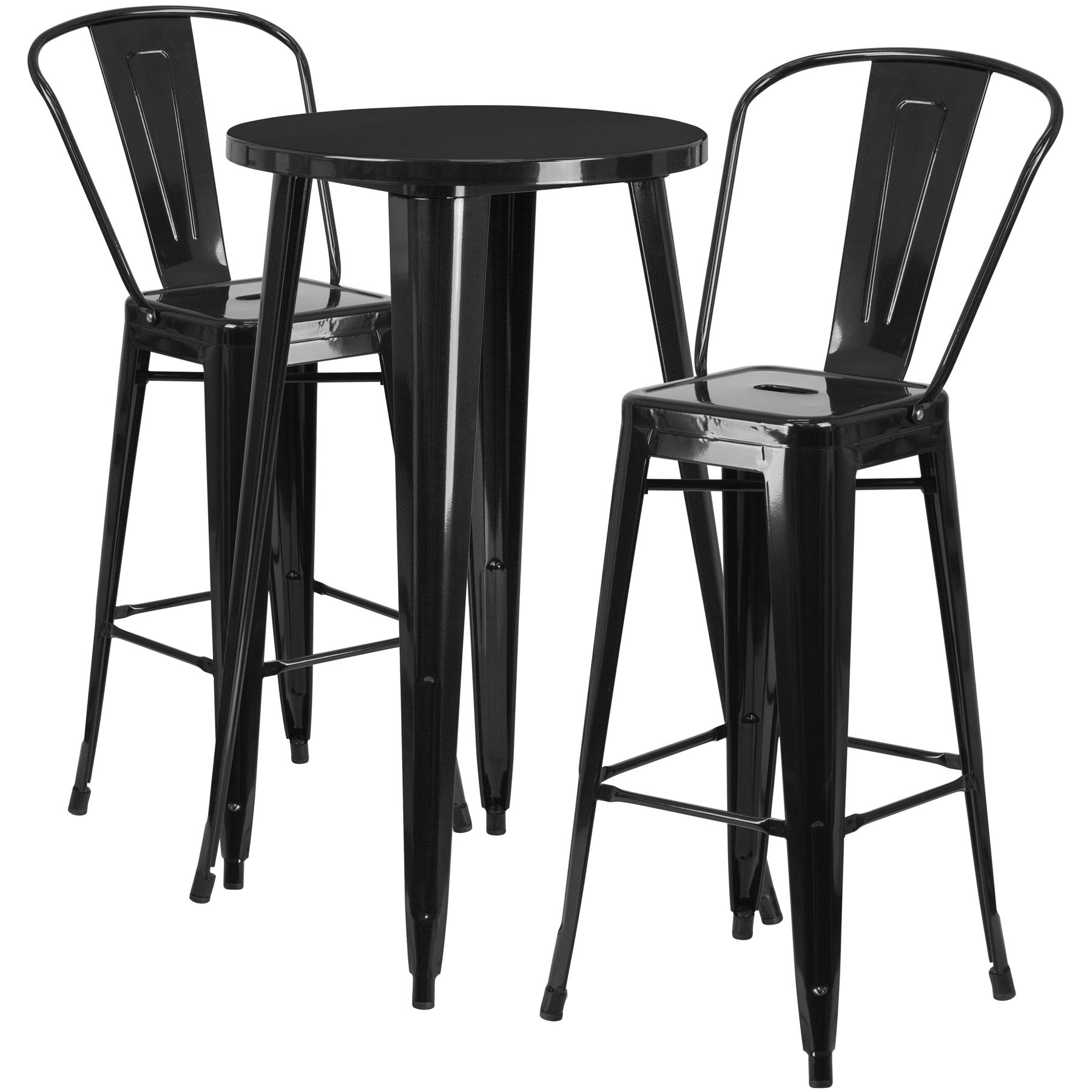 """24"""" Round Metal Bar Table Table Set - Two Chairs - Black"""