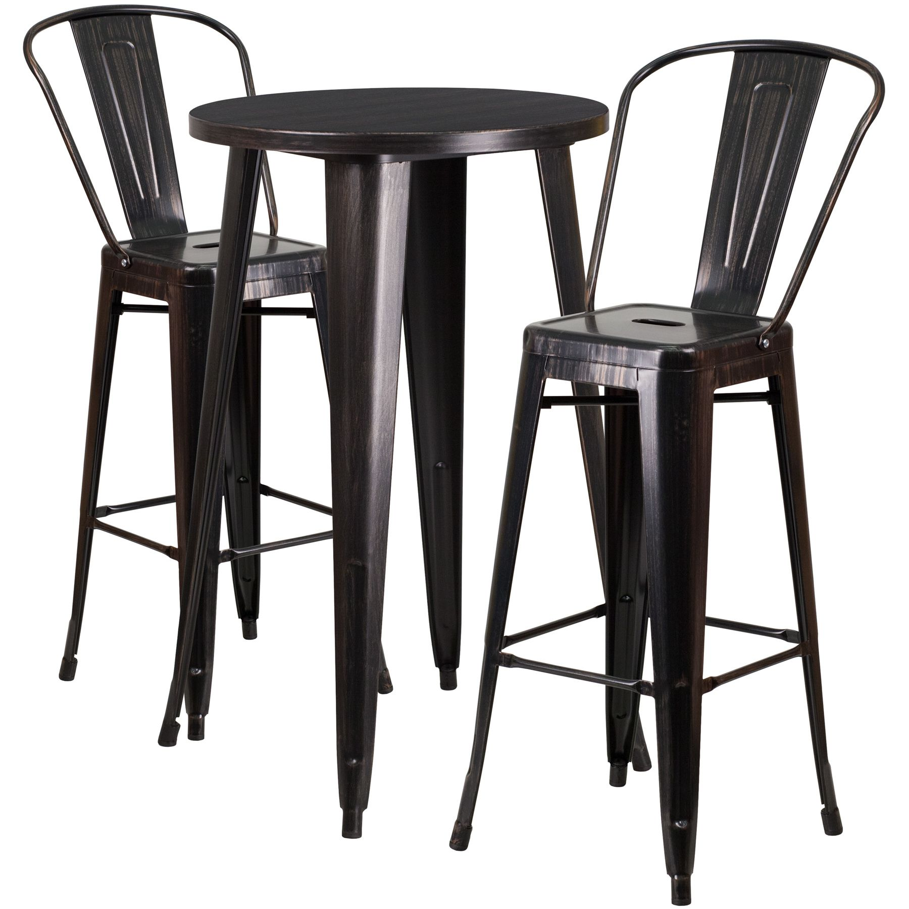 """24"""" Round Metal Bar Table Table Set - Two Chairs - Black Antique Gold"""