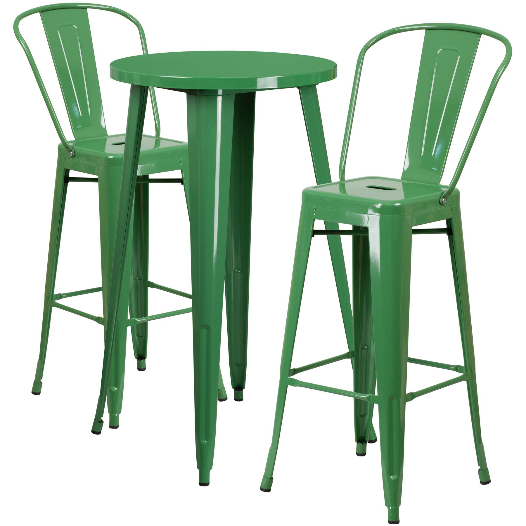 """24"""" Round Metal Bar Table Table Set - Two Chairs - Green"""
