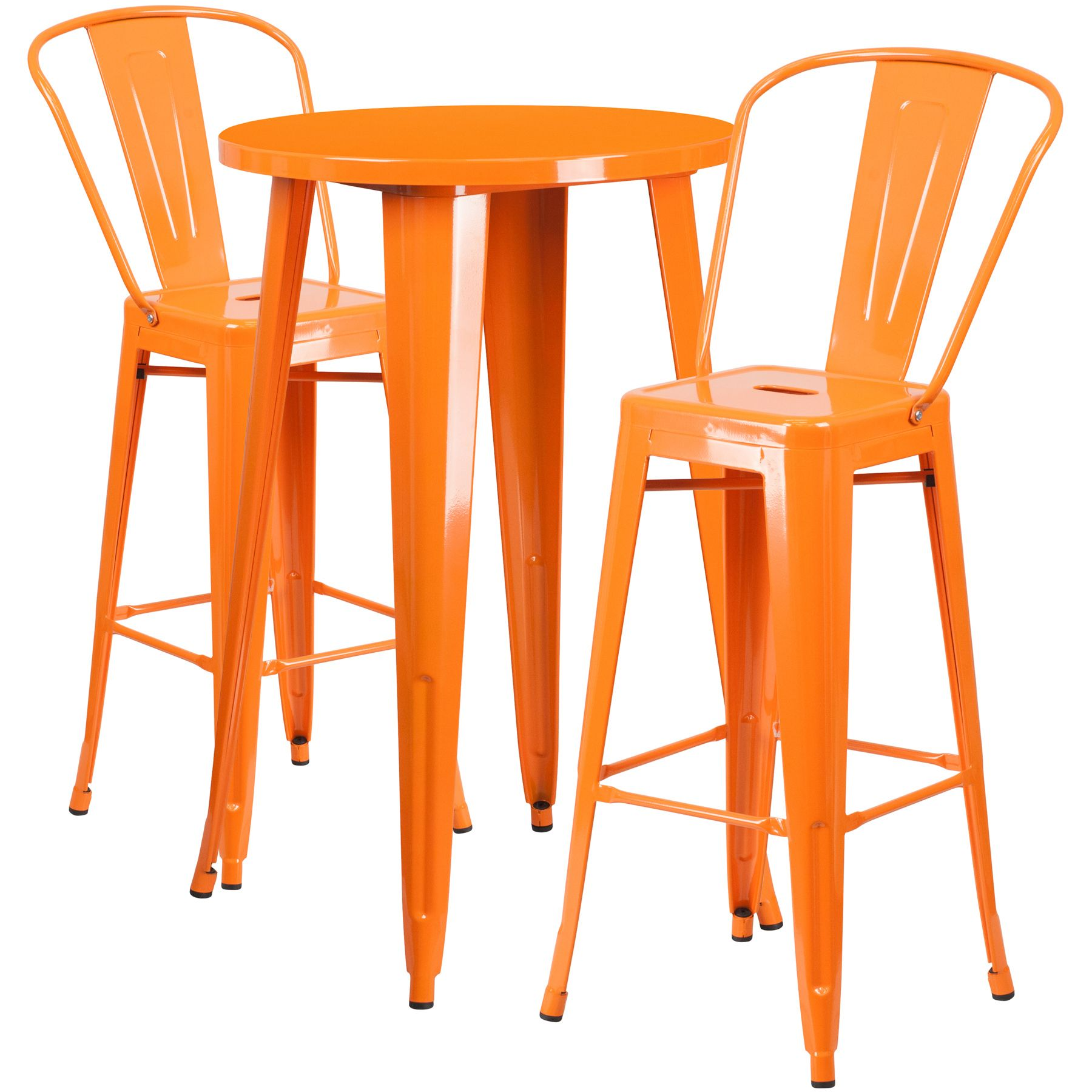"""24"""" Round Metal Bar Table Table Set - Two Chairs - Orange"""