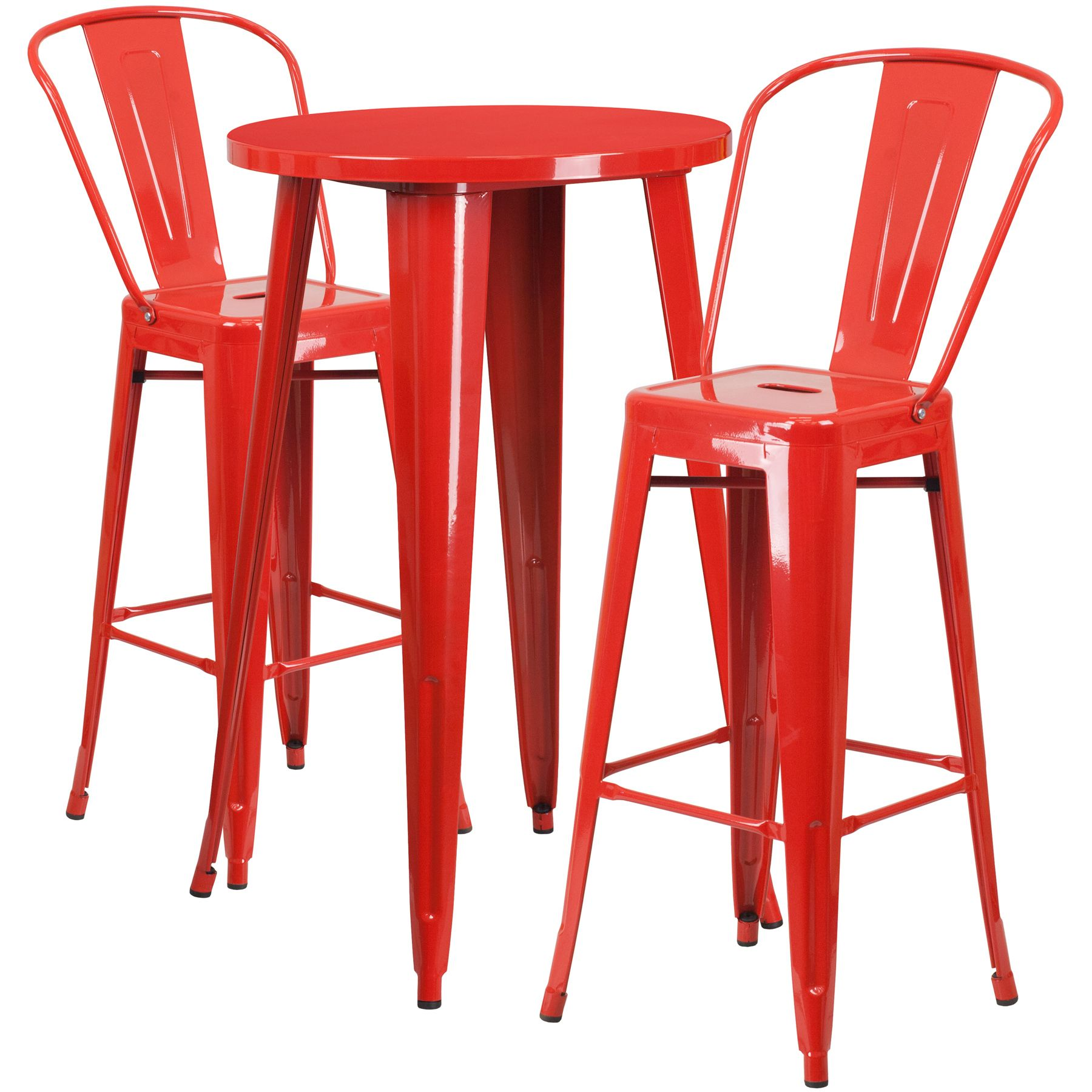 """24"""" Round Metal Bar Table Table Set - Two Chairs - Red"""