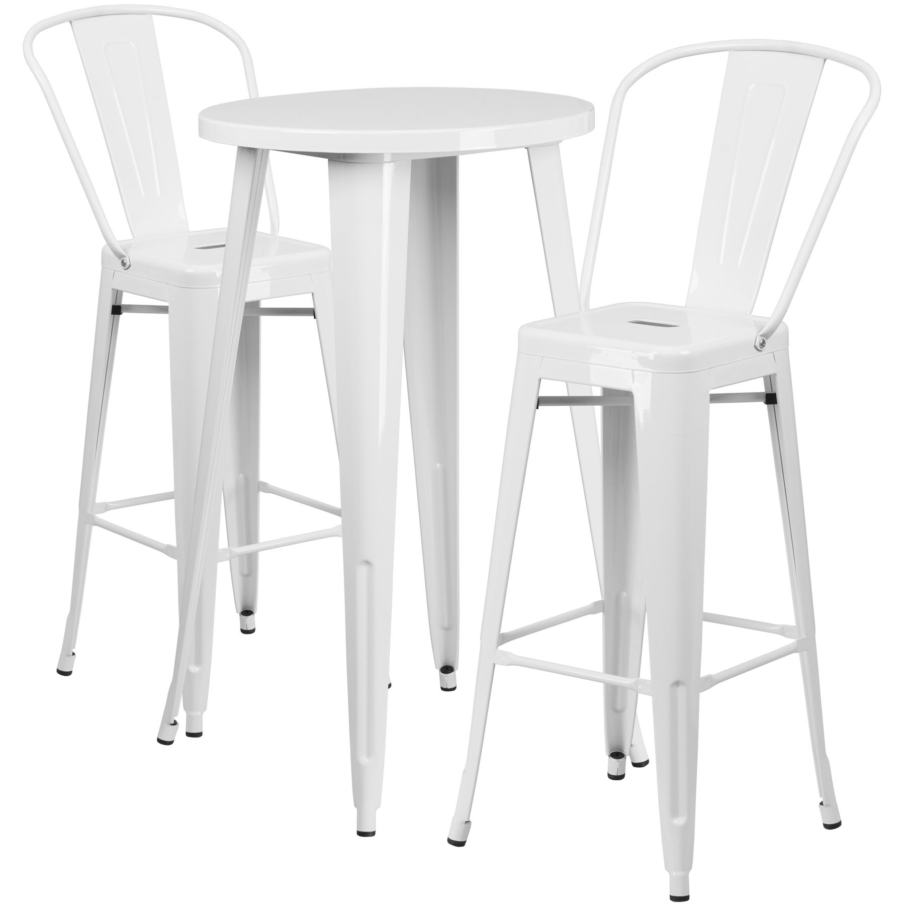 """24"""" Round Metal Bar Table Table Set - Two Chairs - White"""