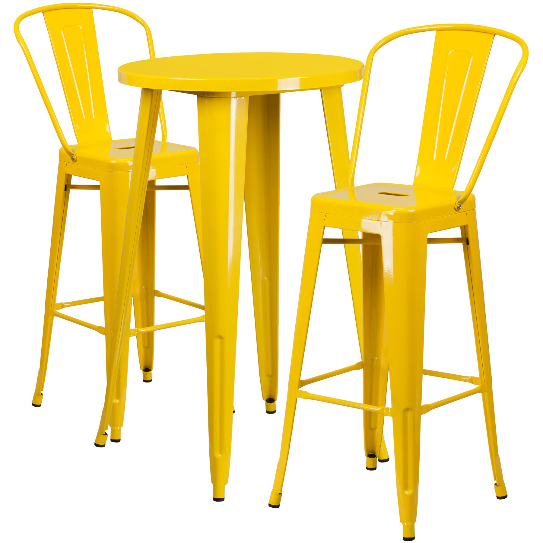 """24"""" Round Metal Bar Table Table Set - Two Chairs - Yellow"""