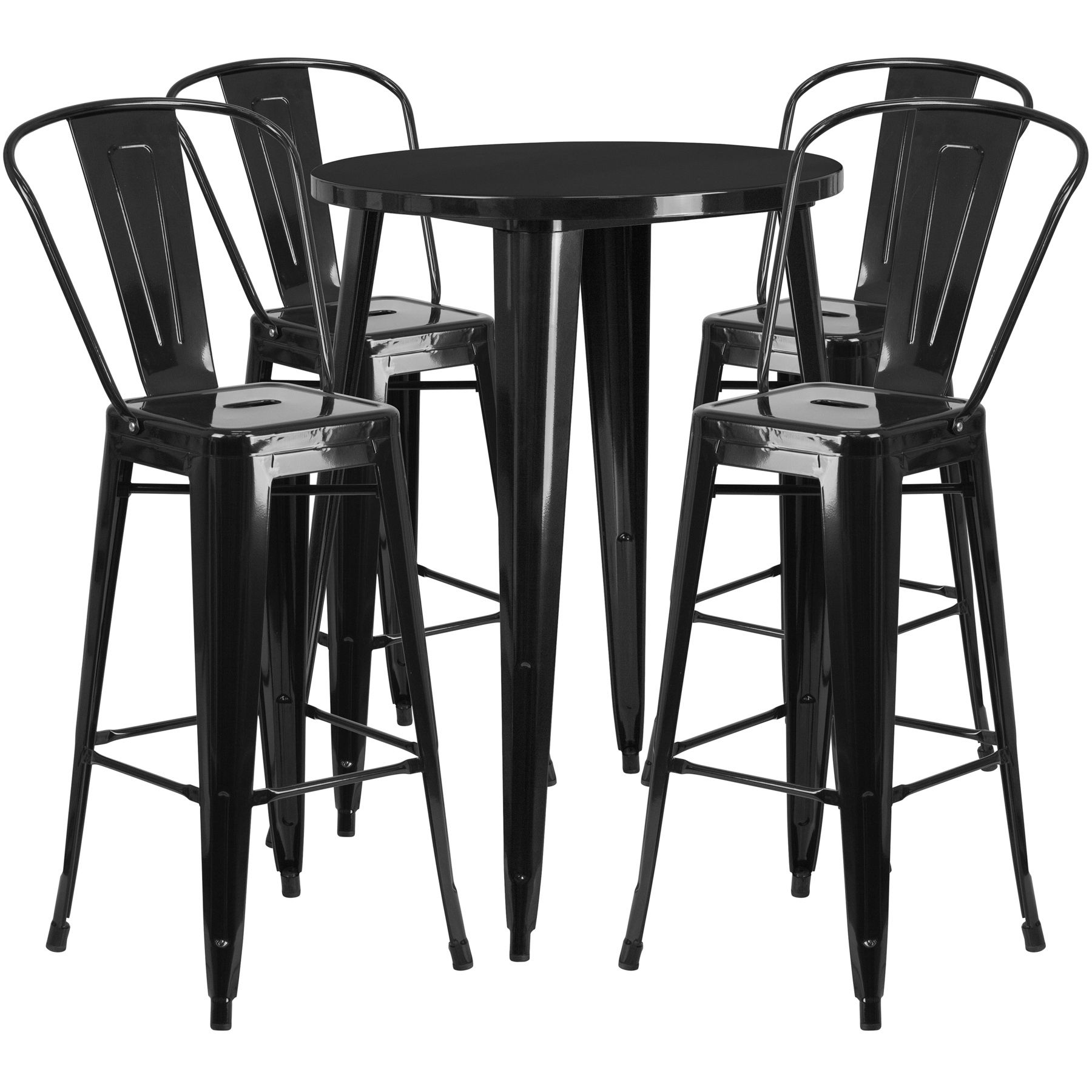 "30"" Round Metal Bar Table Table Set - Four Bar Stools - Black"