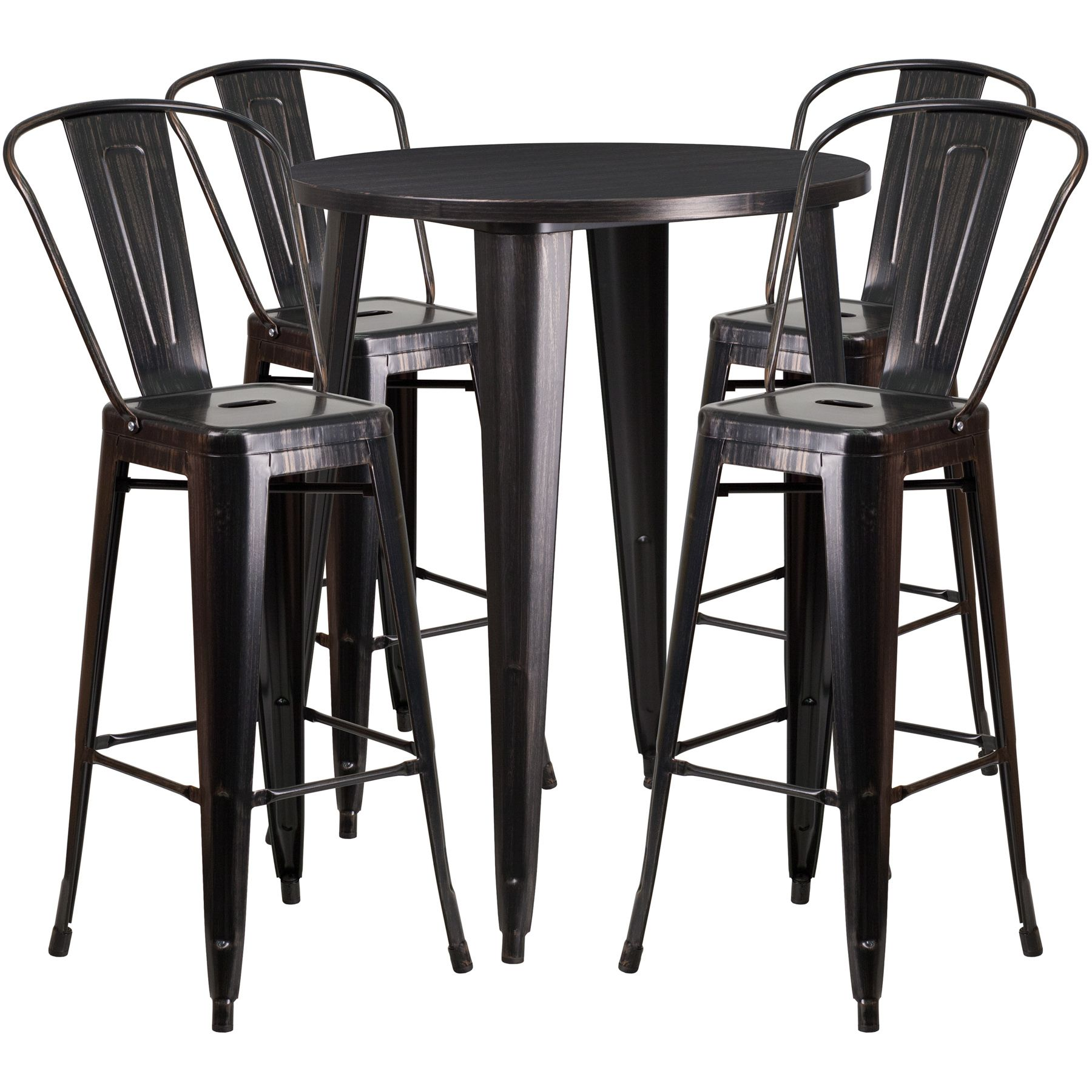 "30"" Round Metal Bar Table Table Set - Four Bar Stools - Black Antique Gold"