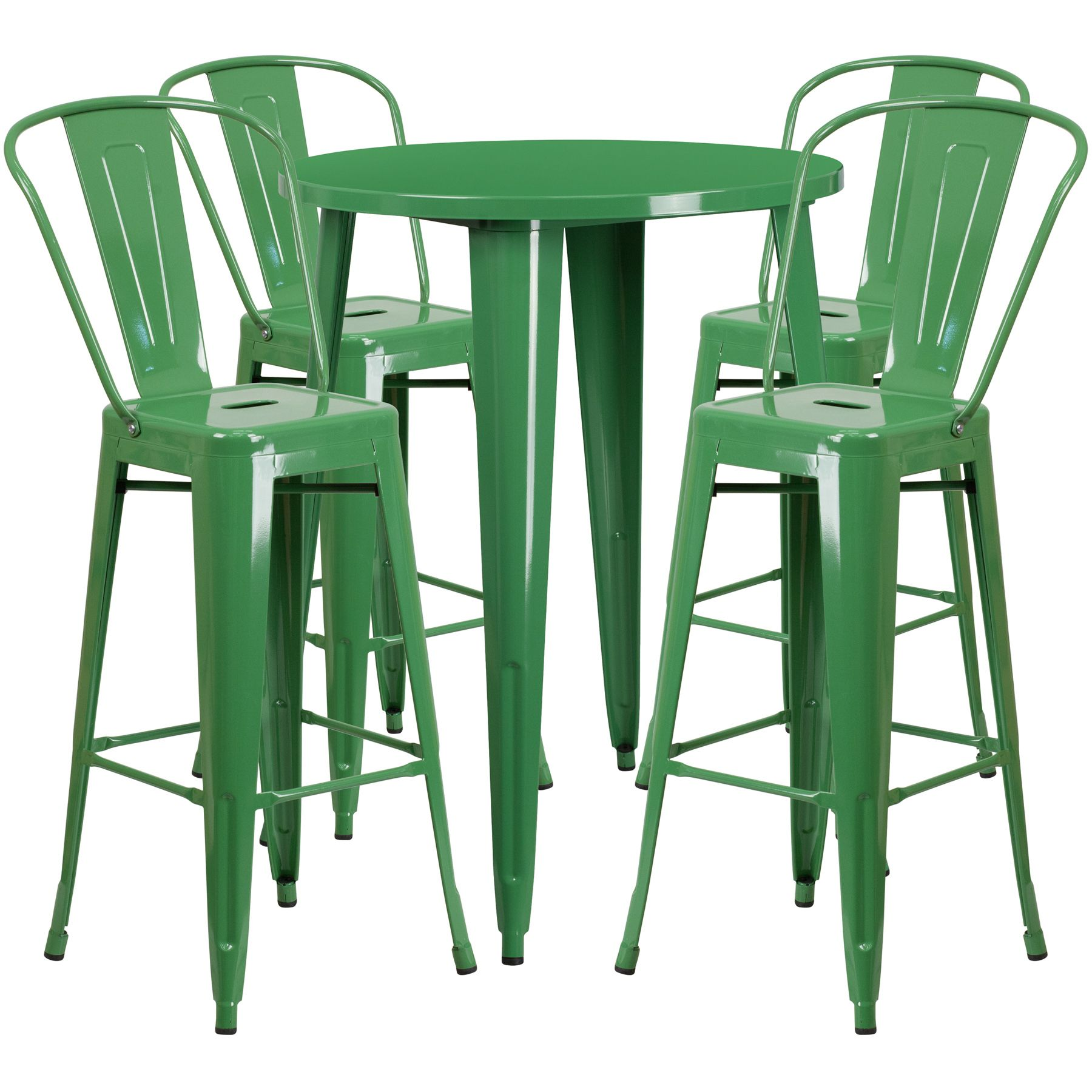 "30"" Round Metal Bar Table Table Set - Four Bar Stools - Green"