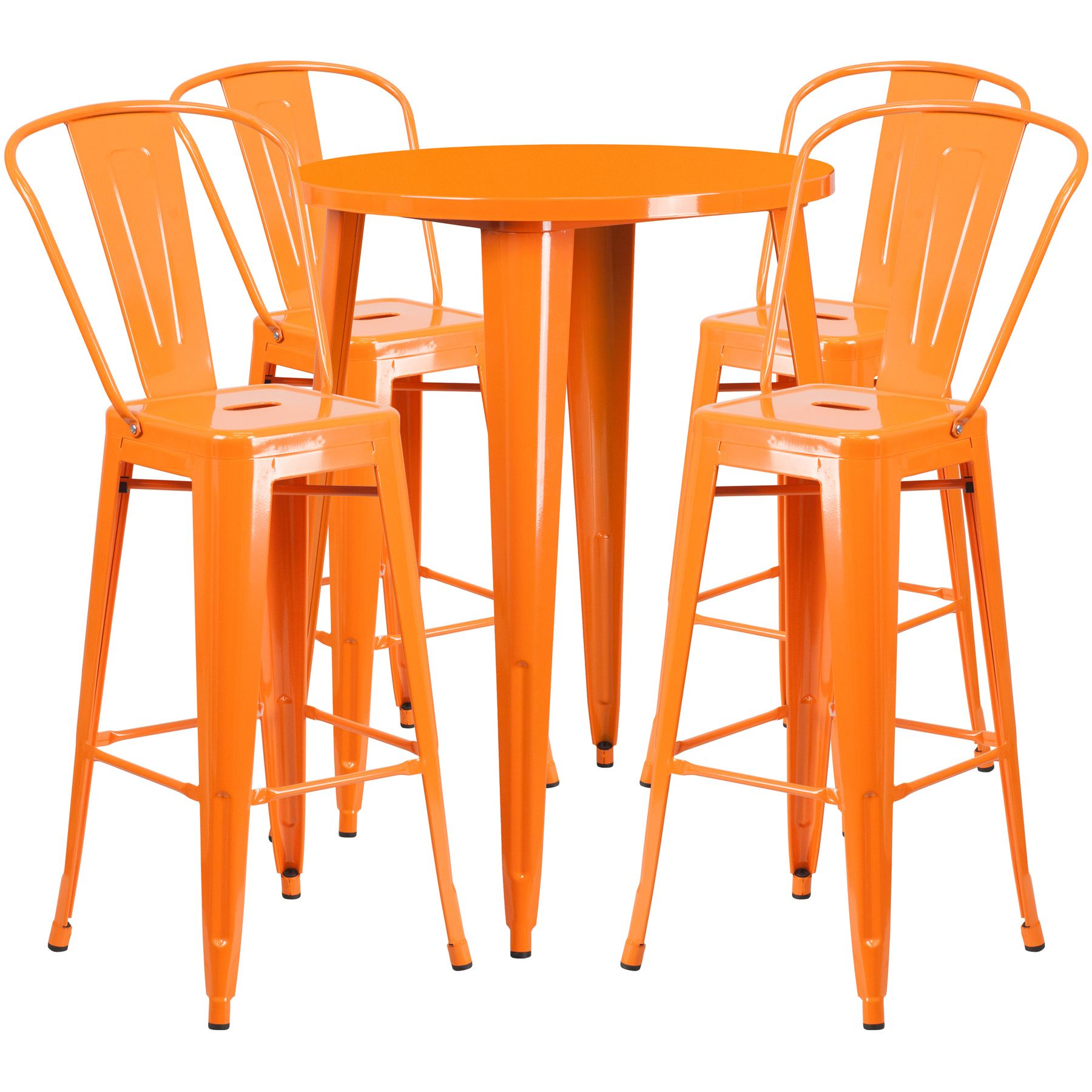 "30"" Round Metal Bar Table Table Set - Four Bar Stools - Orange"