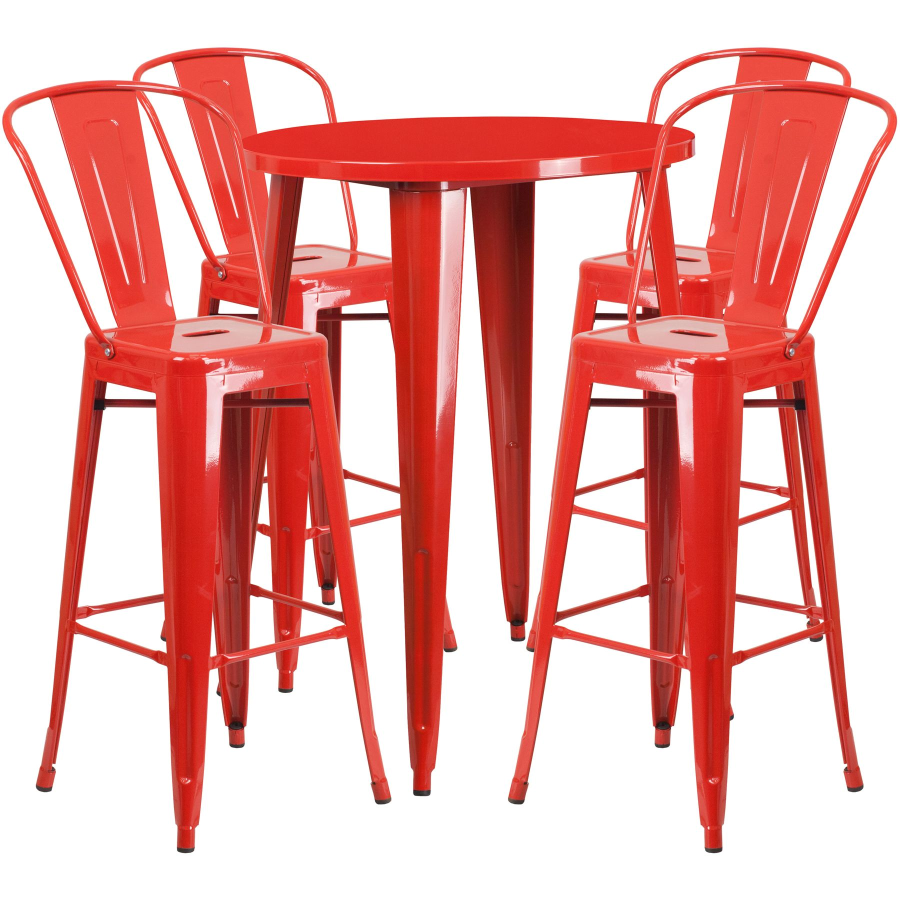 "30"" Round Metal Bar Table Table Set - Four Bar Stools - Red"