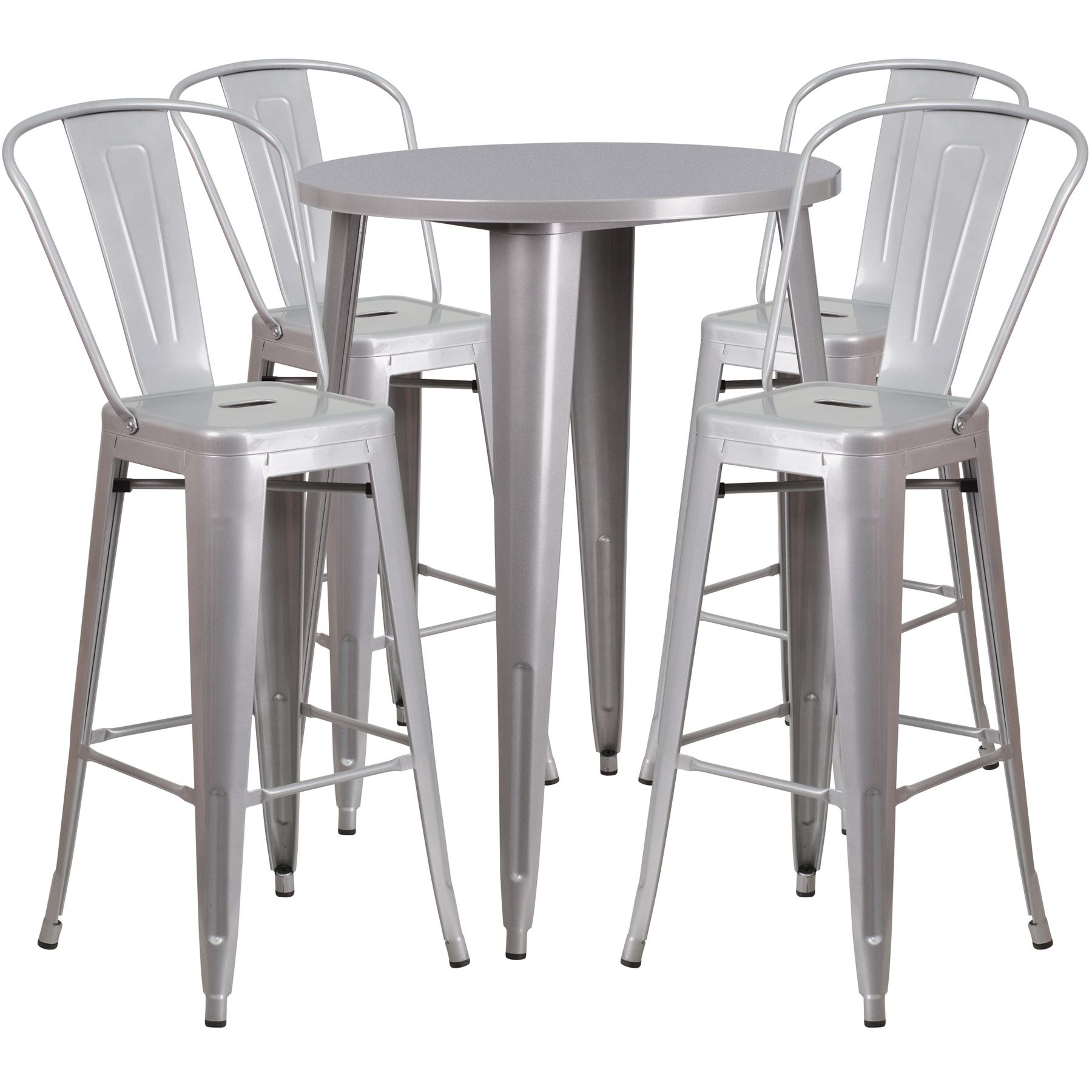 "30"" Round Metal Bar Table Table Set - Four Bar Stools - Silver"