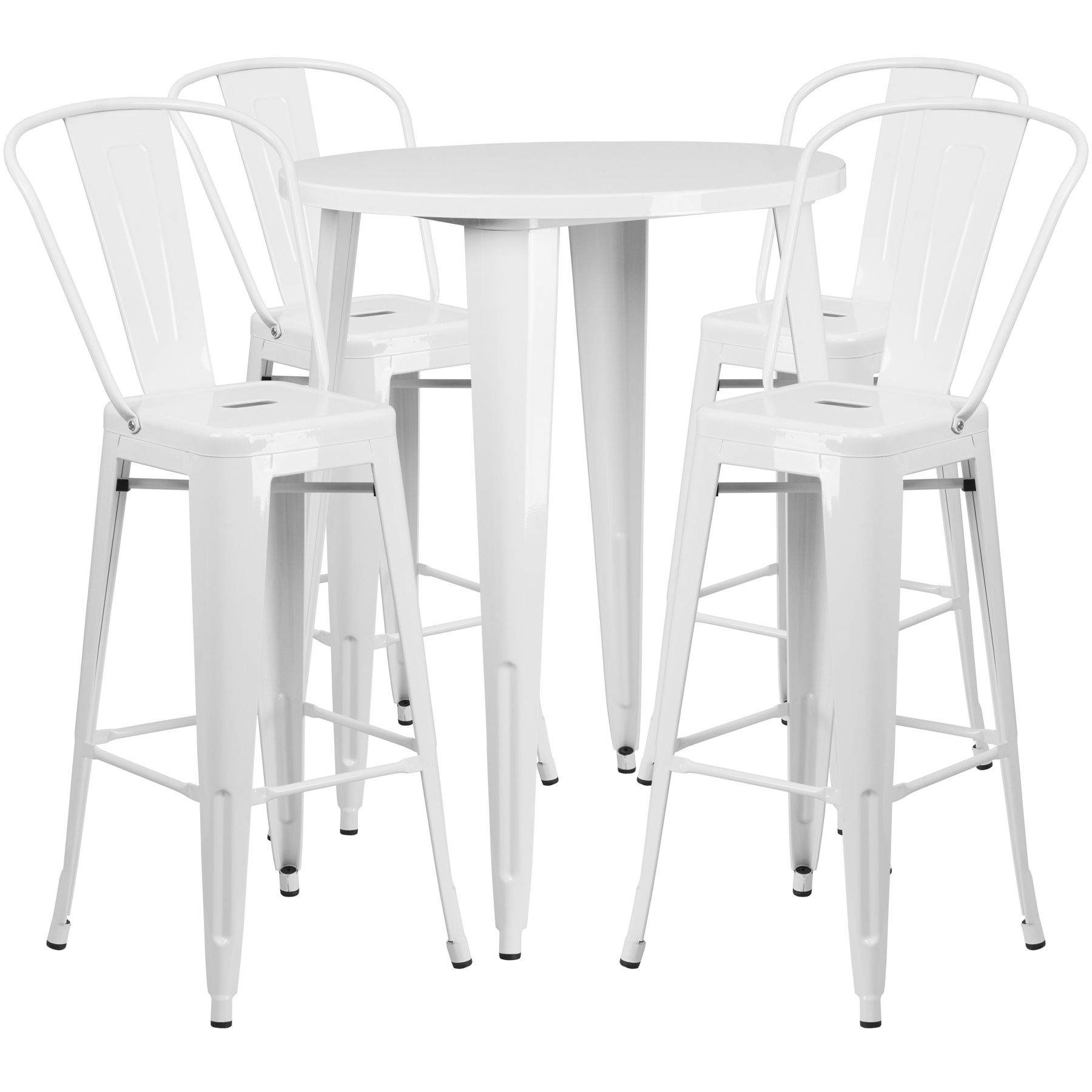 "30"" Round Metal Bar Table Table Set - Four Bar Stools - White"