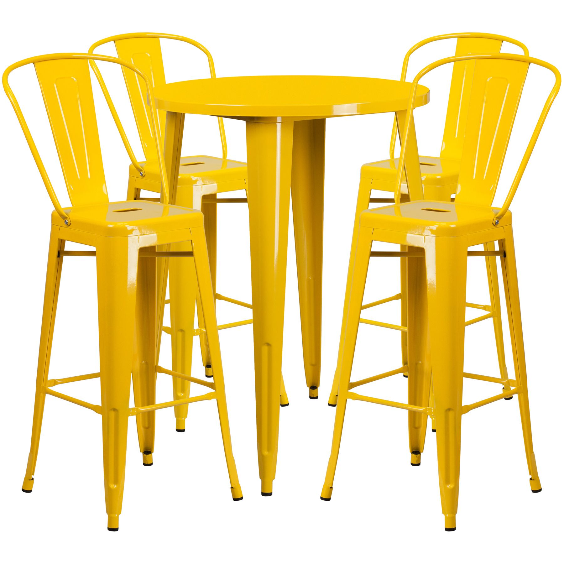 "30"" Round Metal Bar Table Table Set - Four Bar Stools - Yellow"