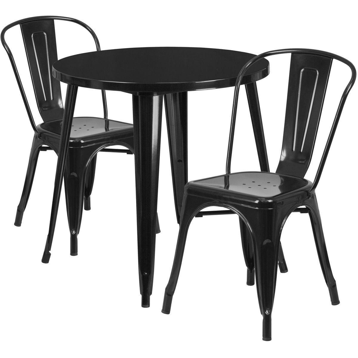 """30"""" Round Metal Dining Table Set - Stack Chairs - Black"""