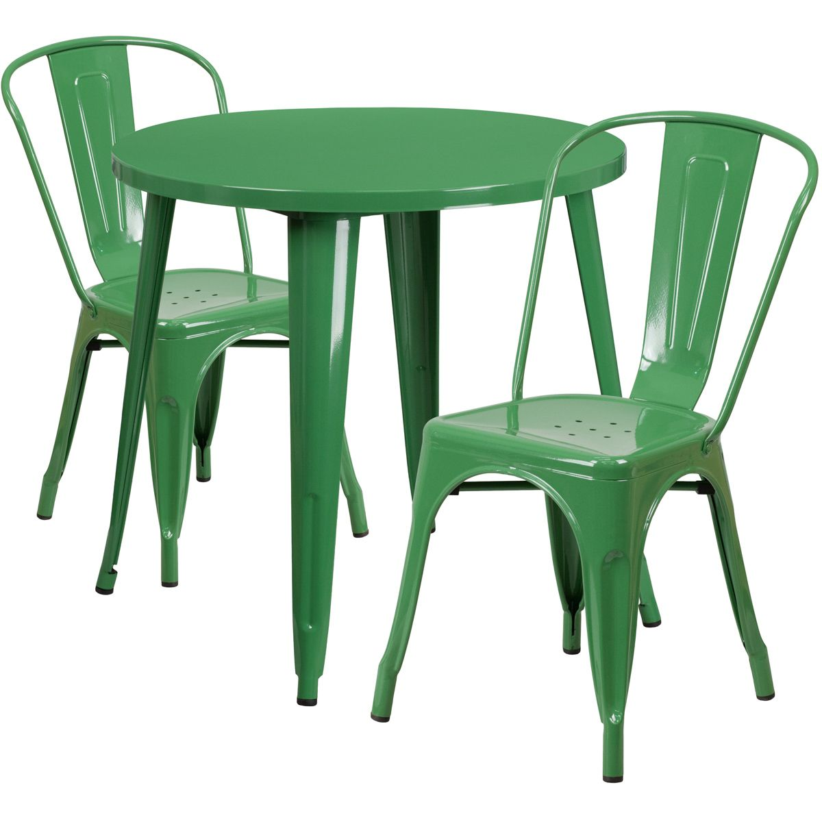 """30"""" Round Metal Dining Table Set - Stack Chairs - Green"""