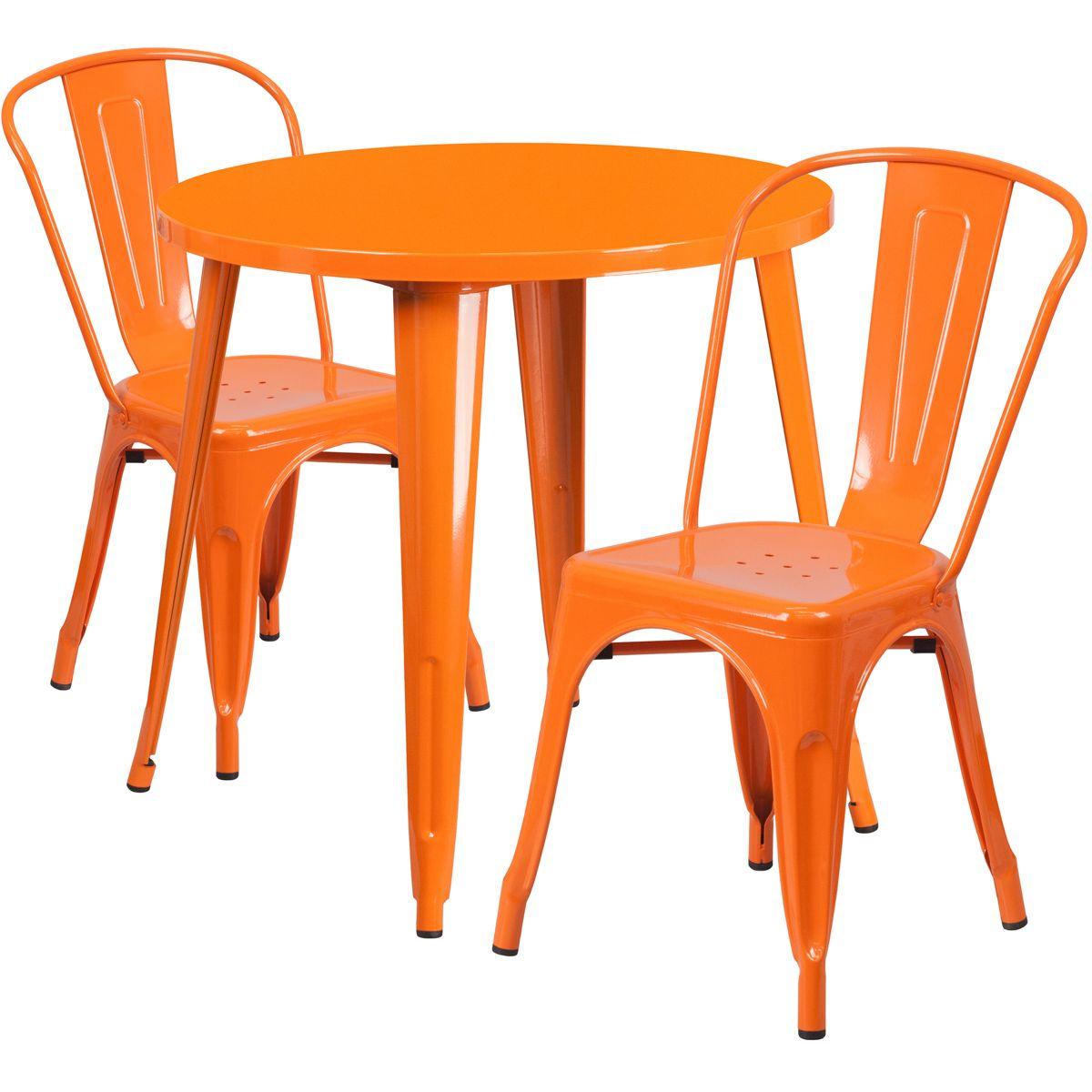 "30"" Round Metal Dining Table Set - Stack Chairs - Orange"