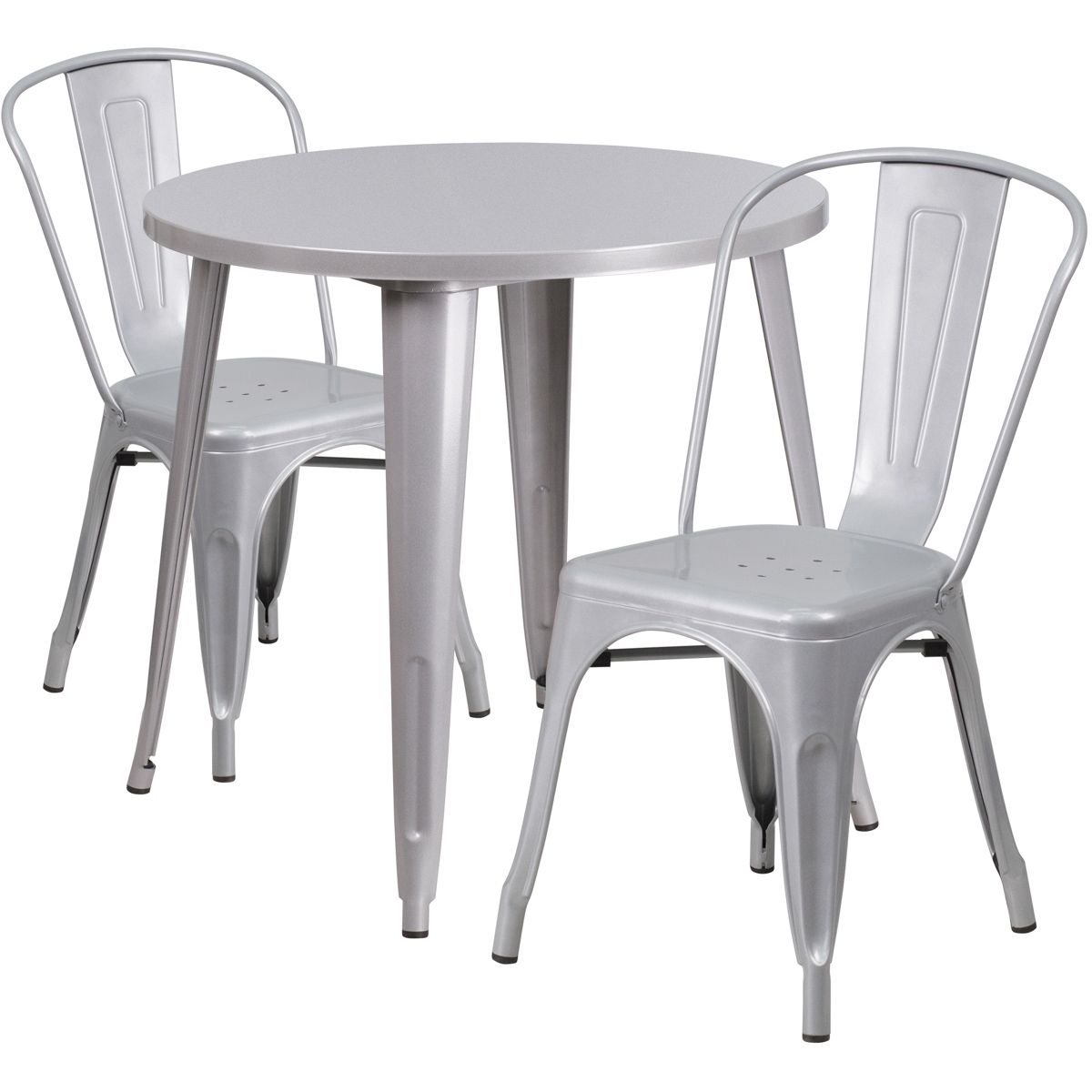"""30"""" Round Metal Dining Table Set - Stack Chairs - Silver"""