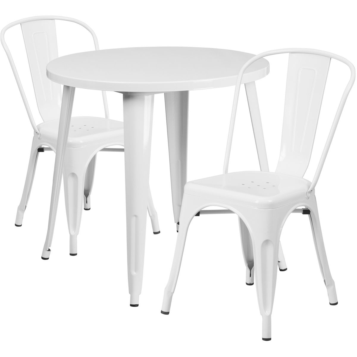 """30"""" Round Metal Dining Table Set - Stack Chairs - White"""