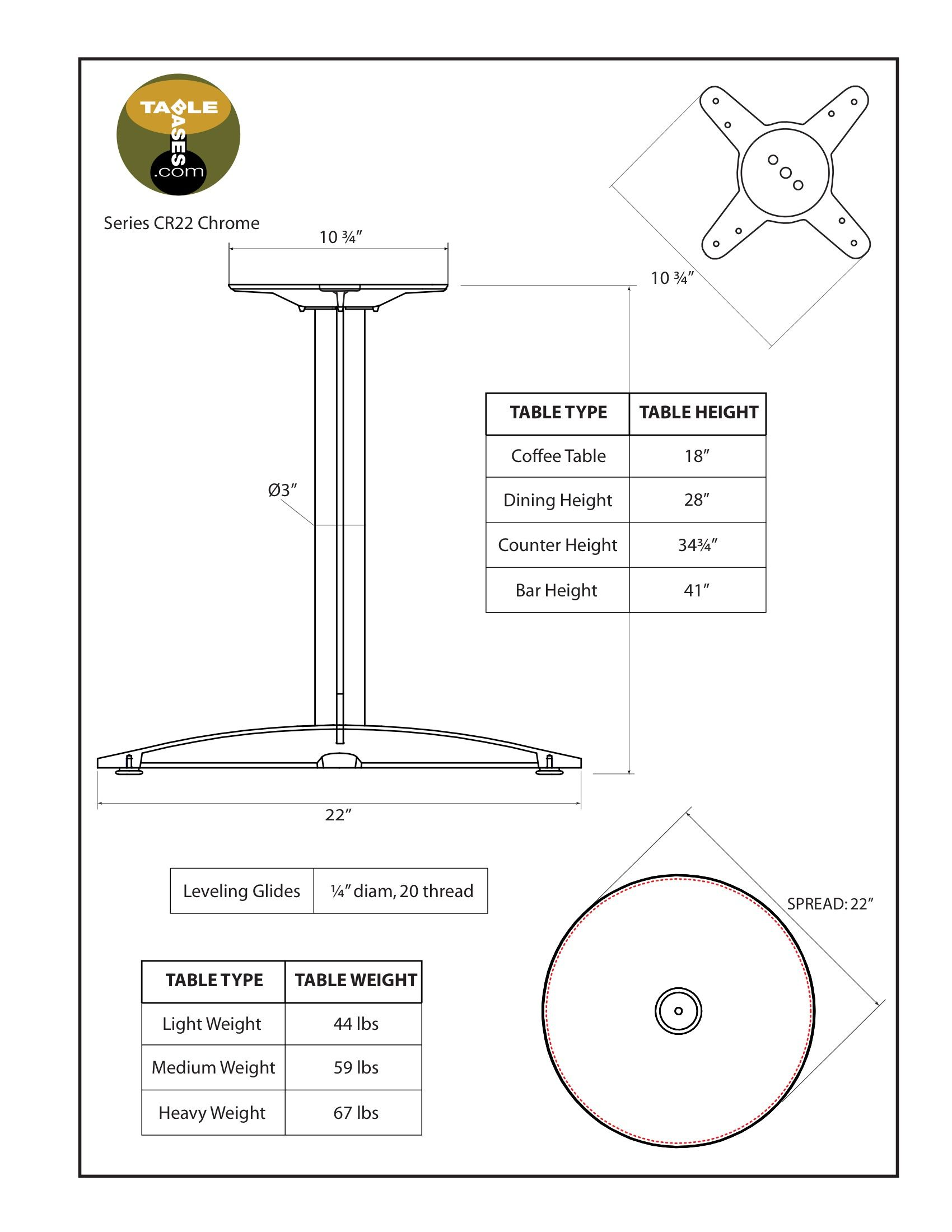 CR22 Chrome Table Base - Specifications