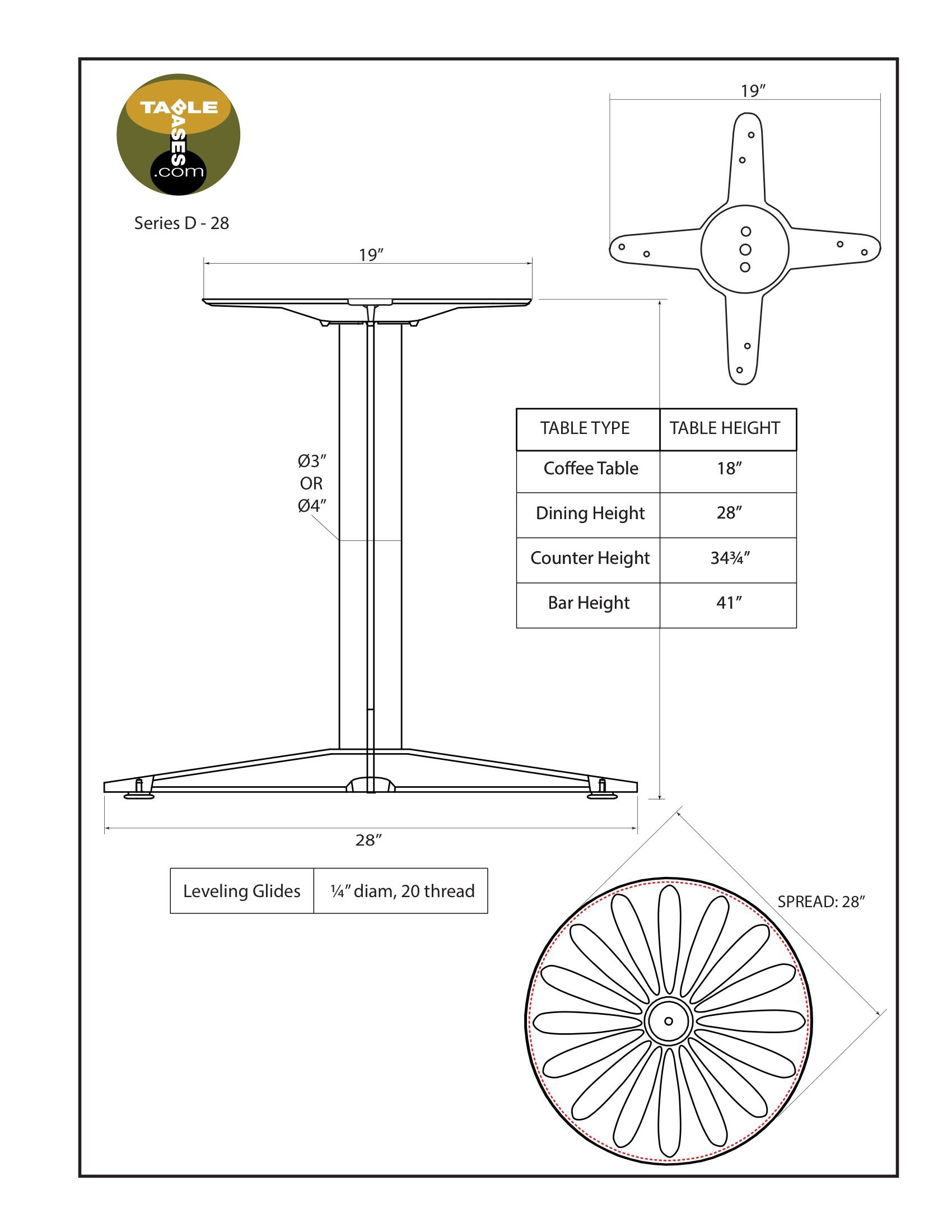D28 Black Table Base - Specifications