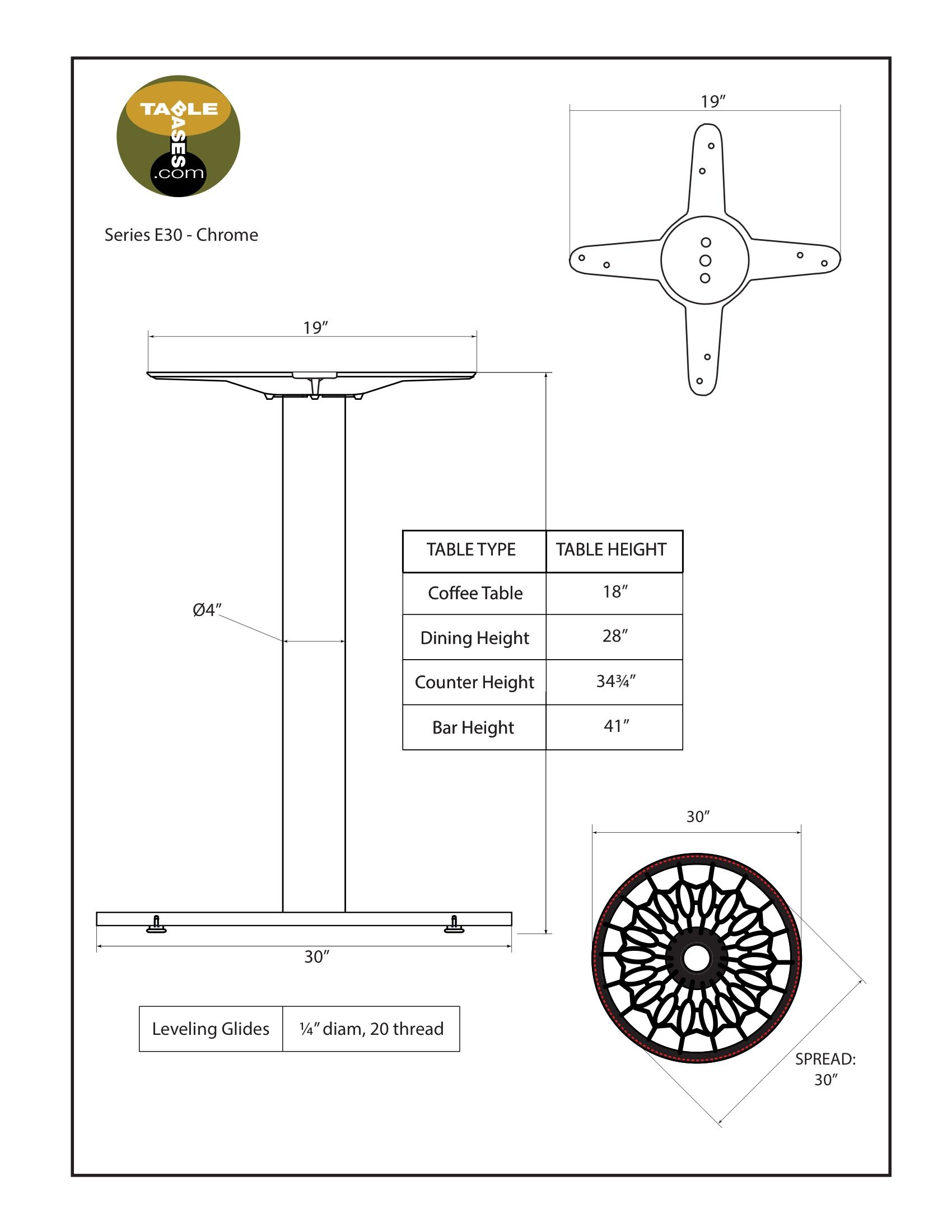 E30 Chrome Table Base - Specifications