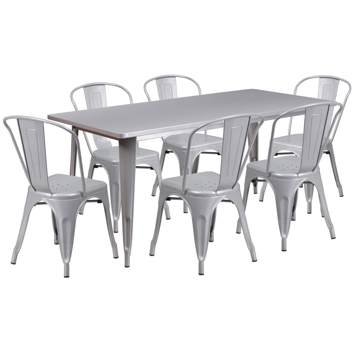 "32"" x 63"" Rectangular Metal Dining Table Set - Four Chairs"