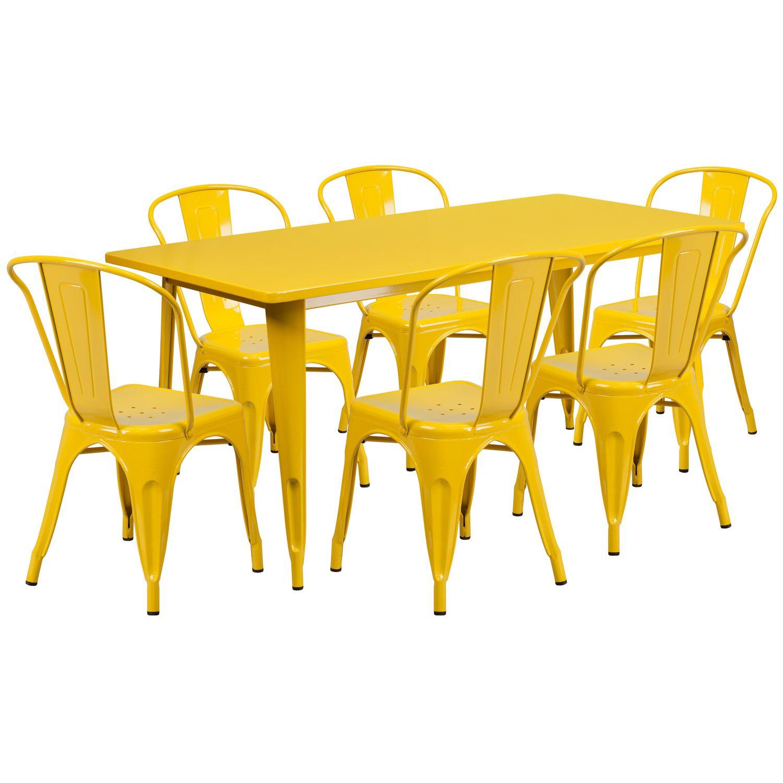 "32"" x 63"" Rectangular Metal Dining Table Set - Six Chairs"