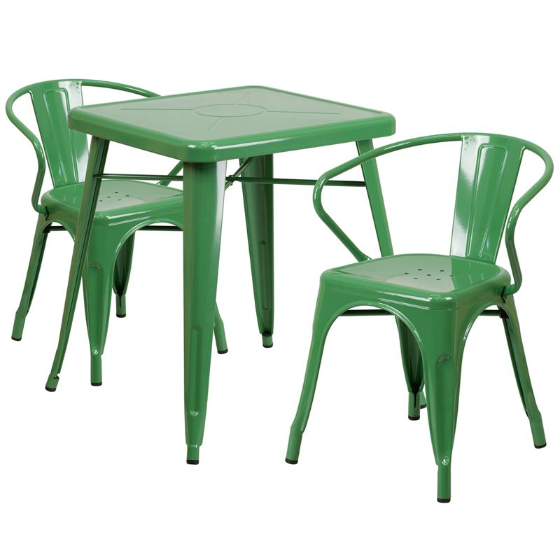 """24"""" Square Metal Cafe Table with Two Arm Chairs - Green"""