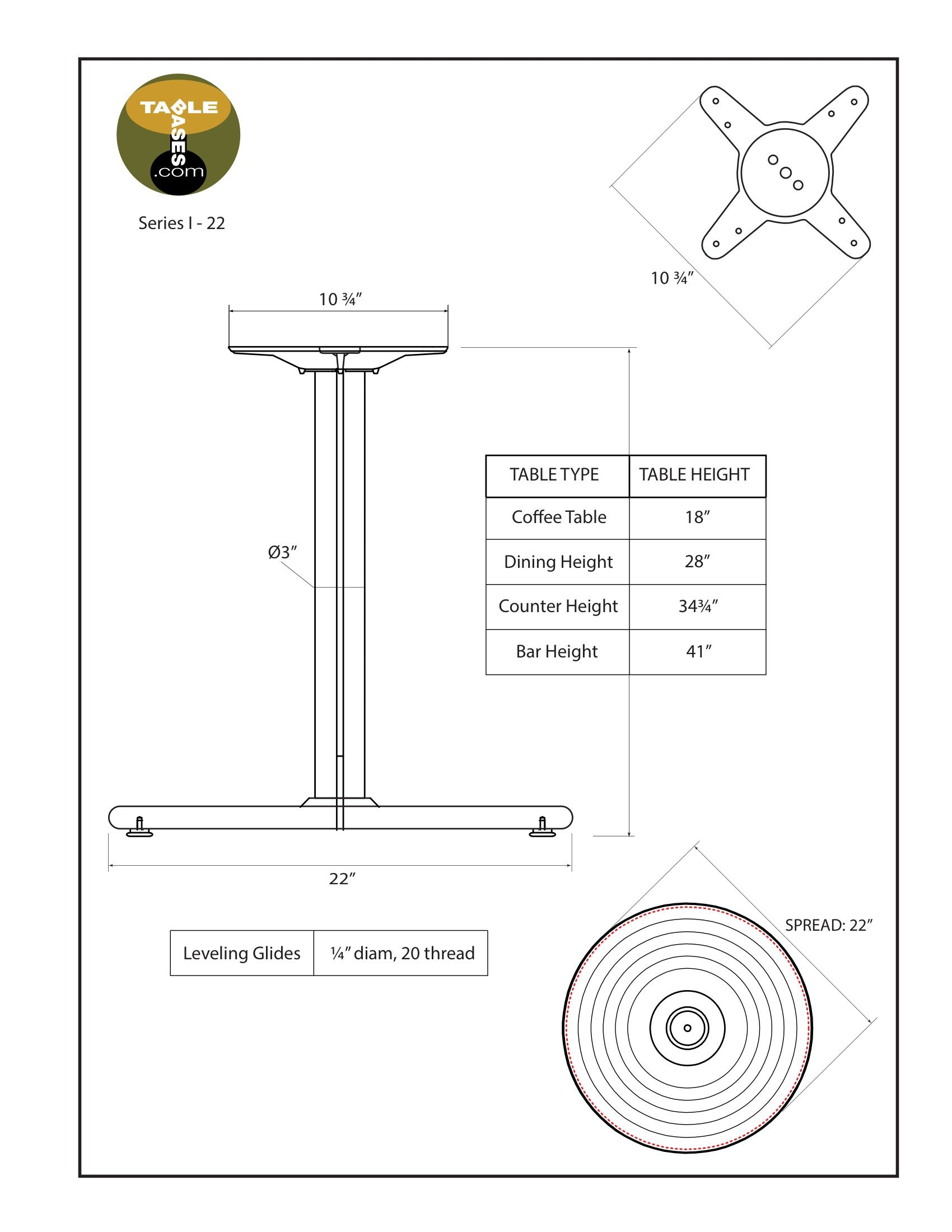 I22 Black Table Base - Specifications