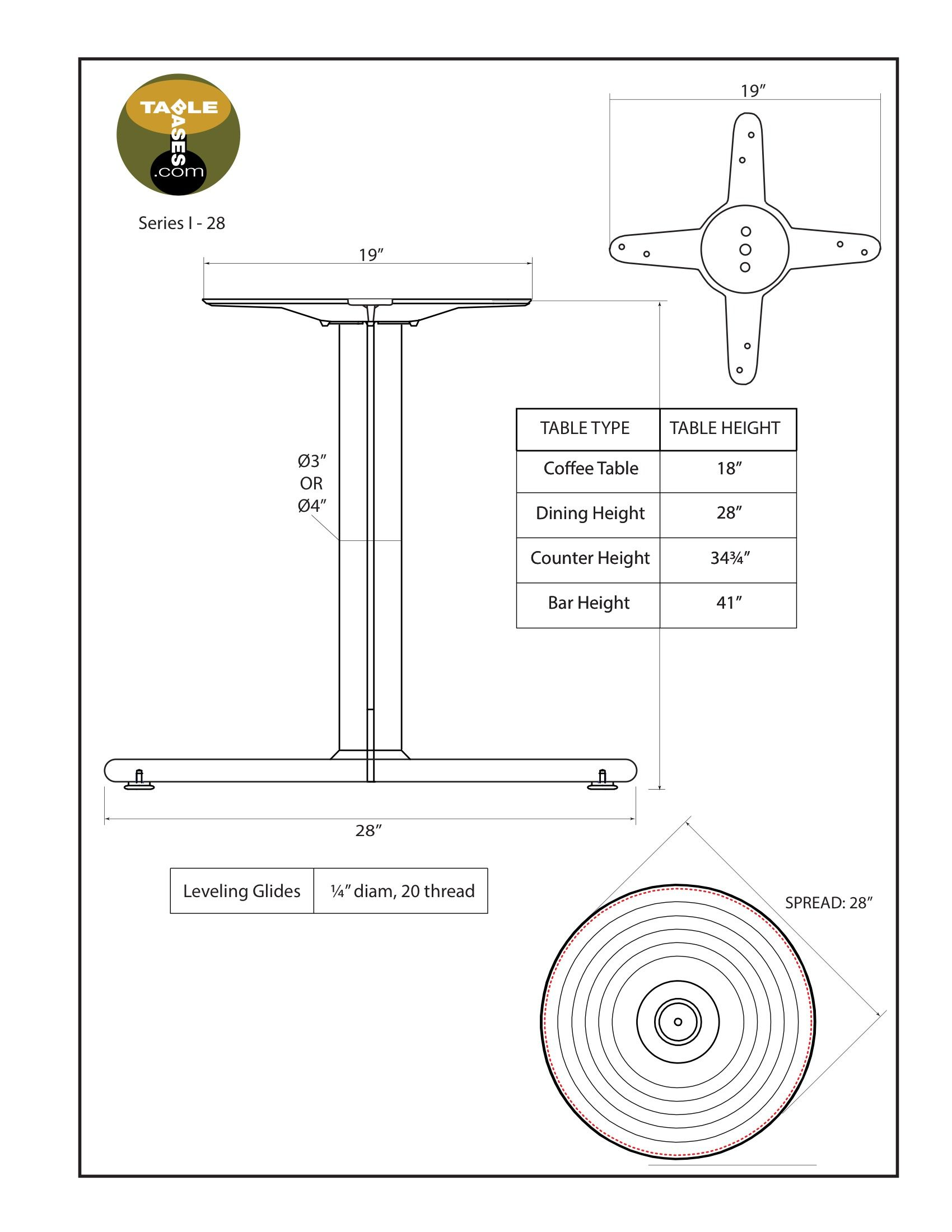 I28 Black Table Base - Specifications