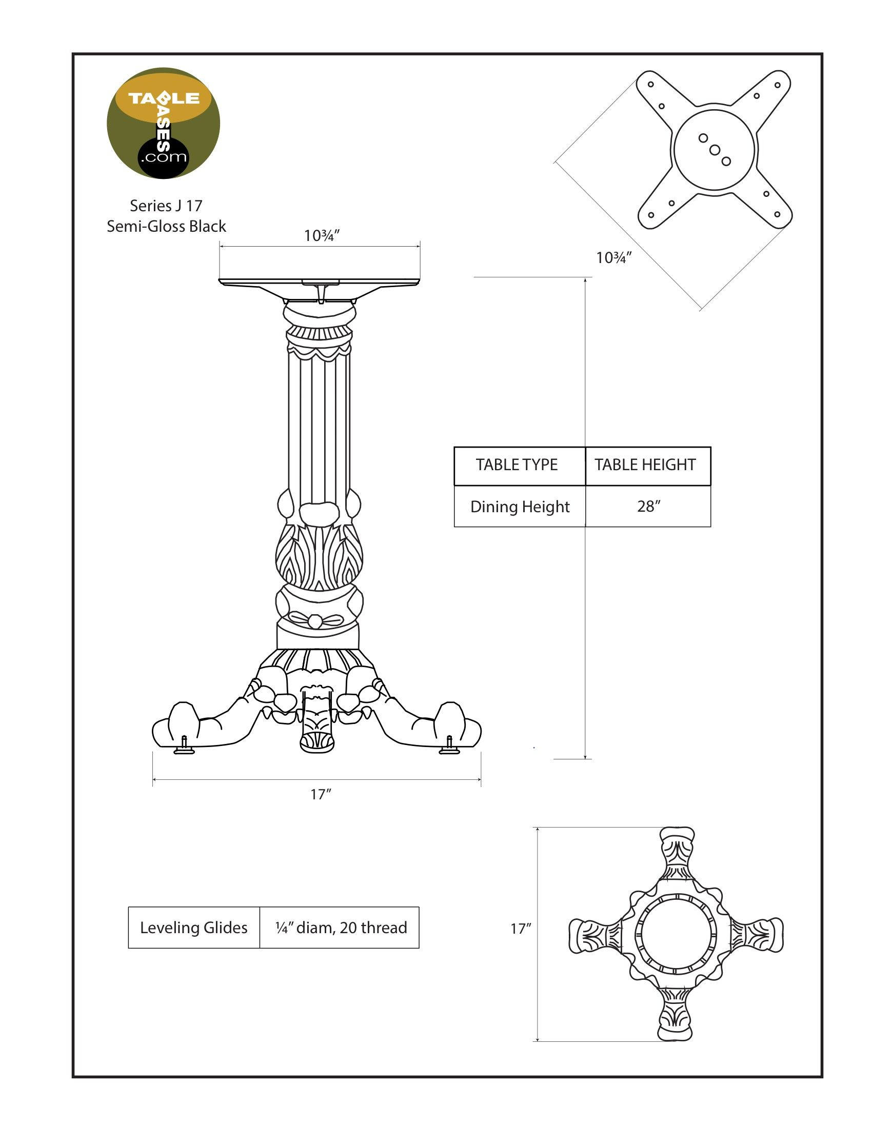 J17 Black Table Base - Specifications