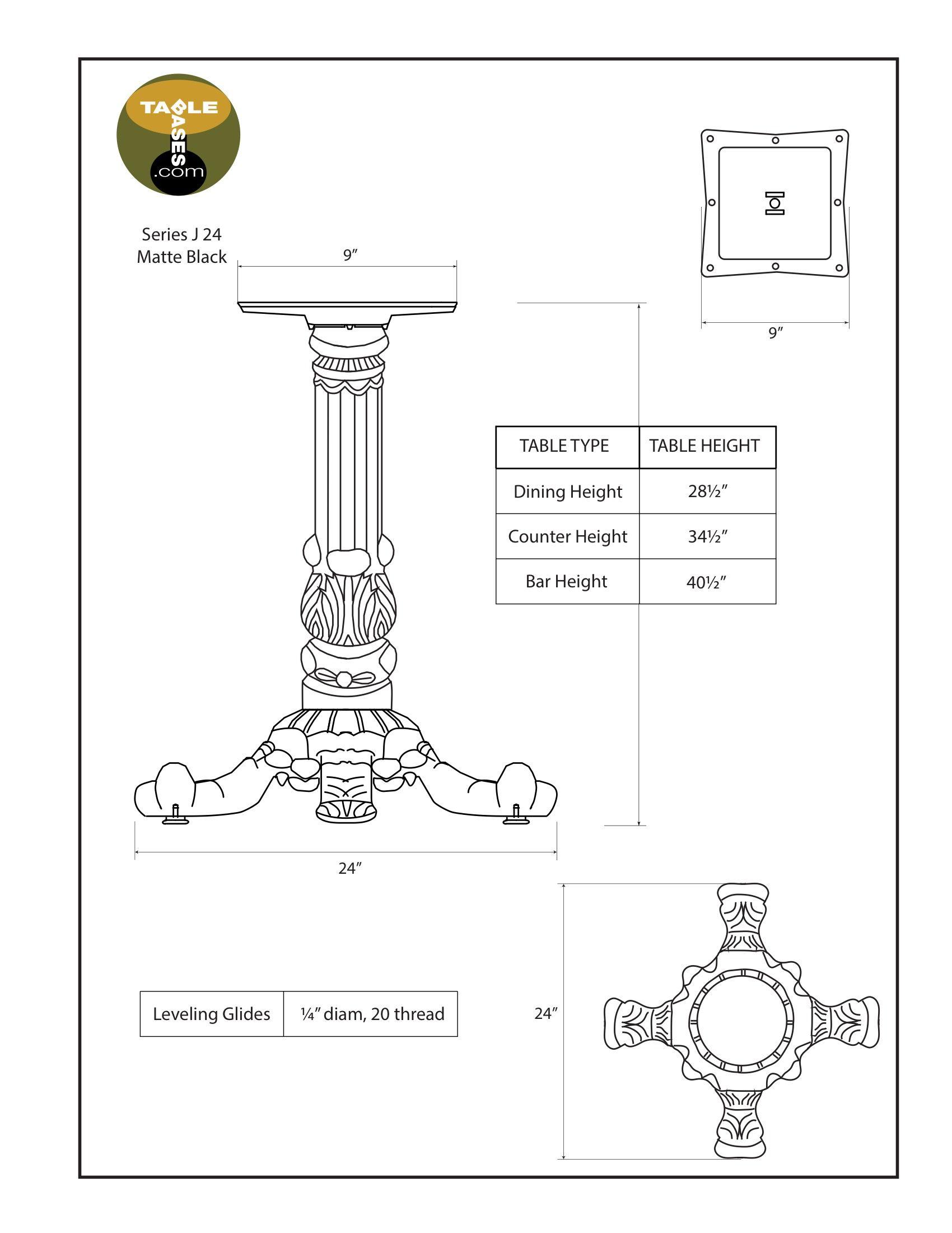 J24 Matte Black Table Base - Specifications
