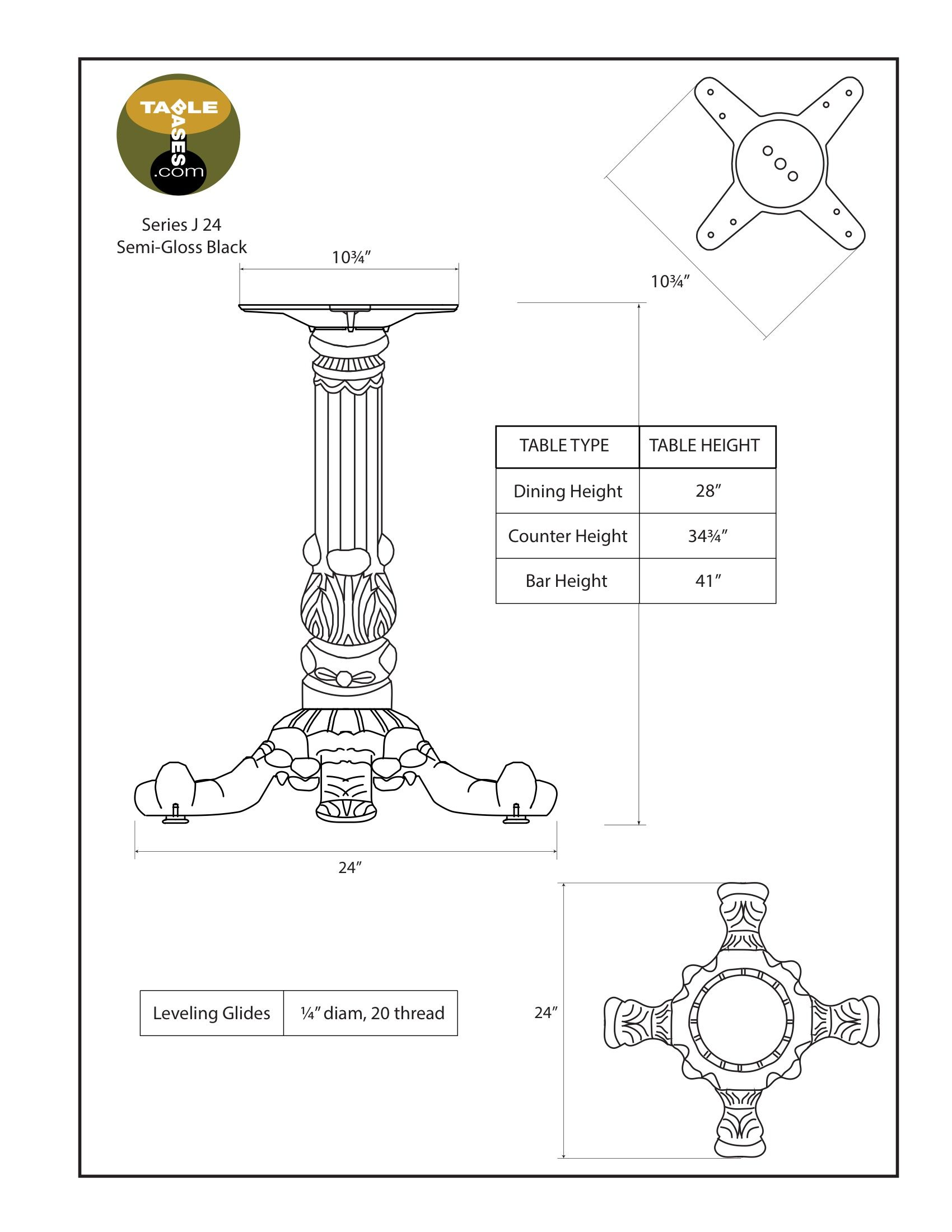 J24 Semi-Gloss Black Table Base - Specifications
