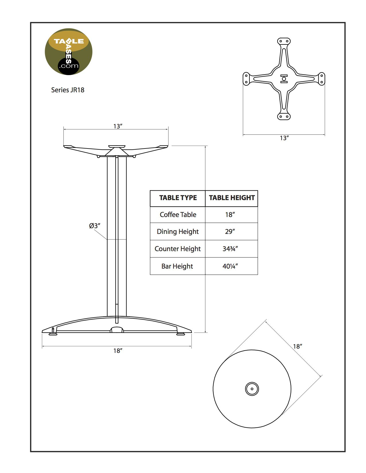 JR18 Black Table Base - Specifications