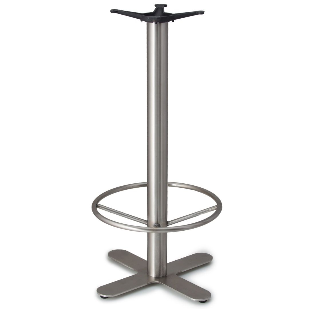 JSX22 - Stainless Steel Table Base - Bar Height with Foot Ring