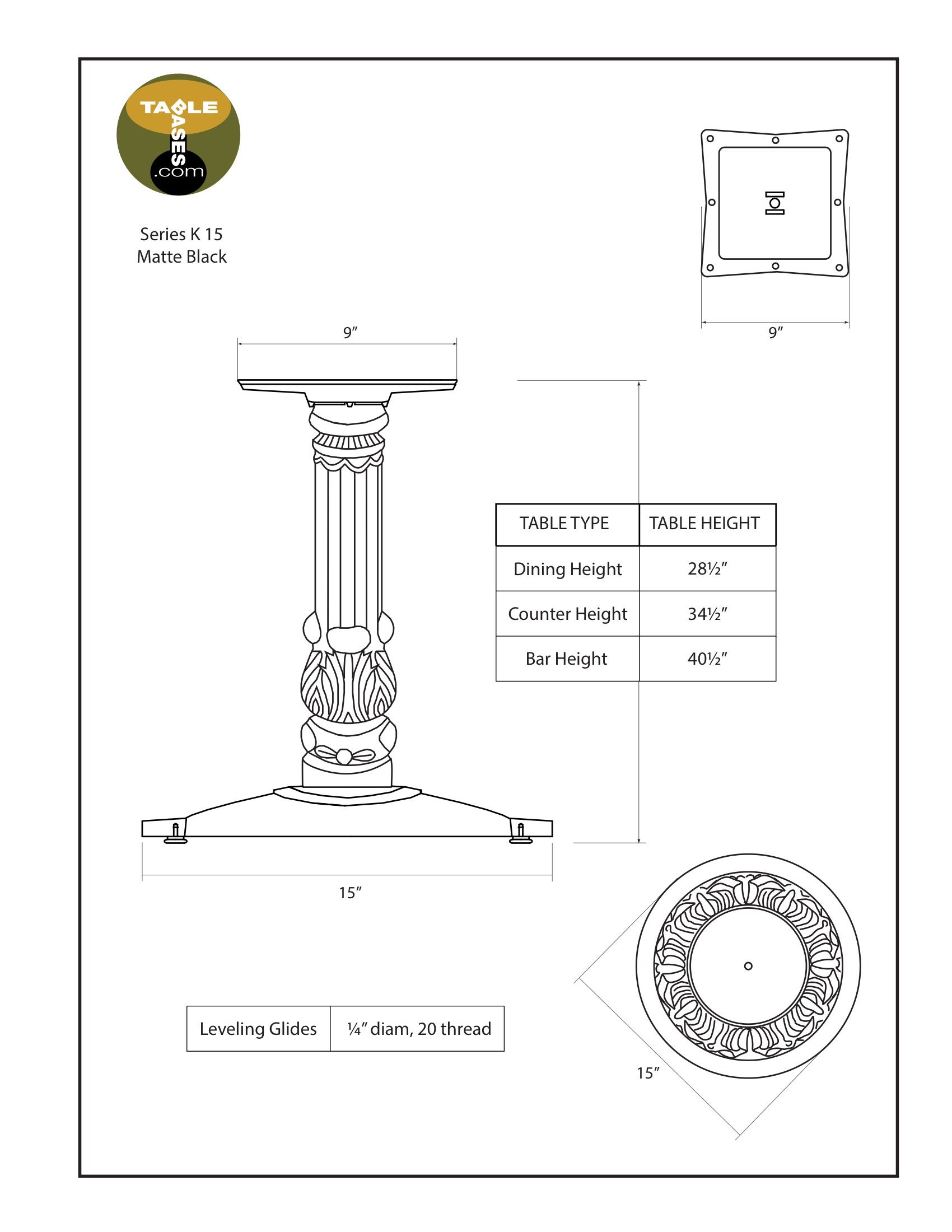 K15 Black Table Base - Specifications