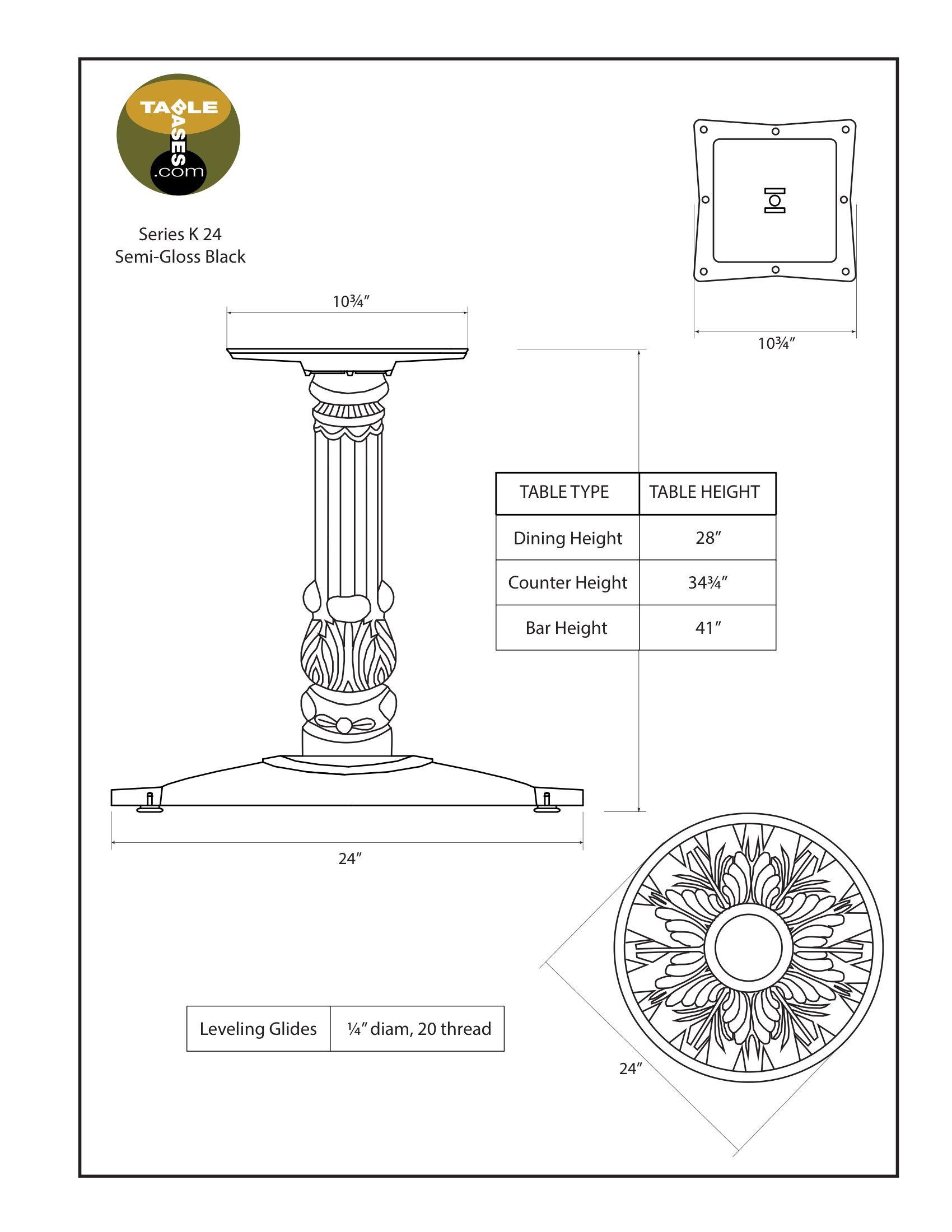 K24 Semi-Gloss Black Table Base - Specifications