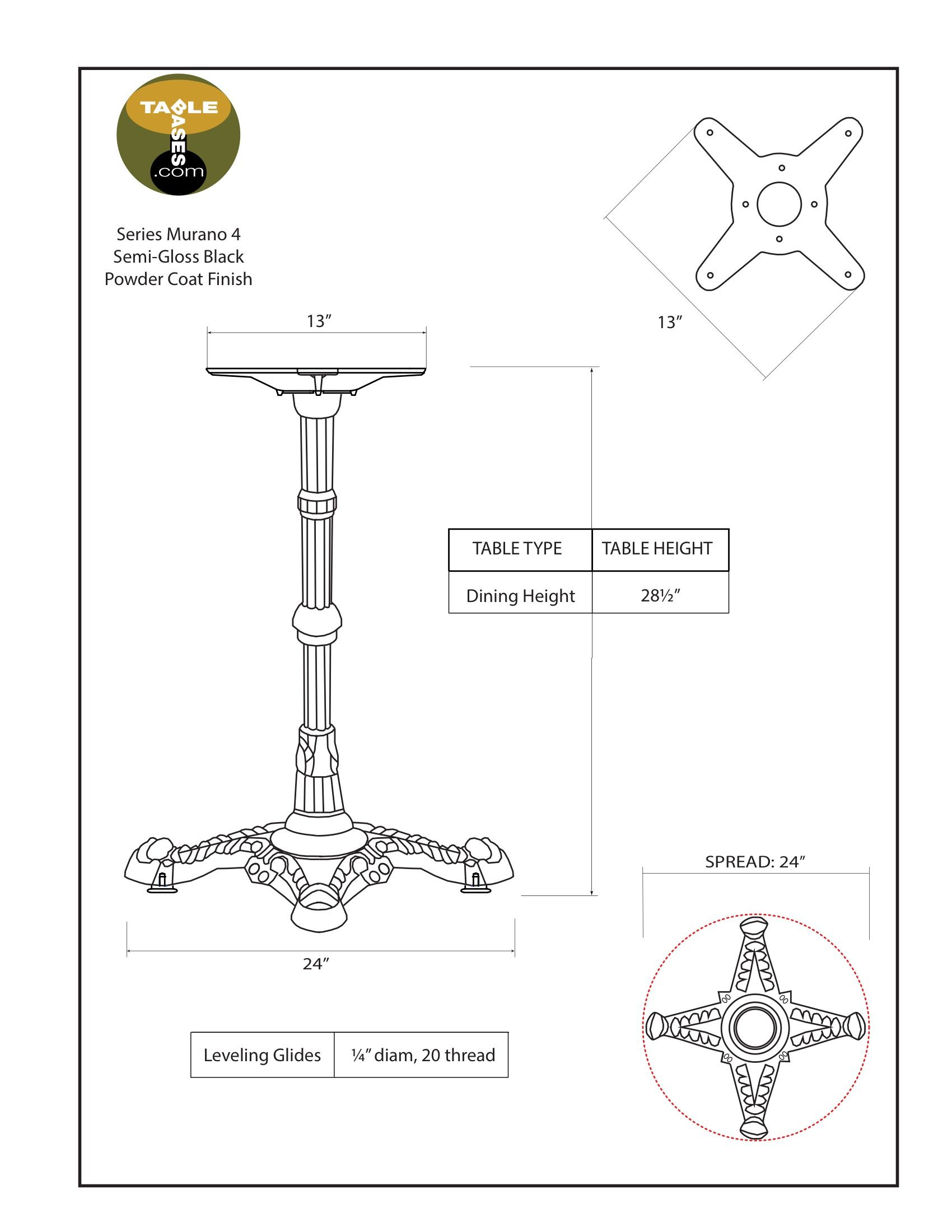 Murano 4 Black Table Base - Specifications
