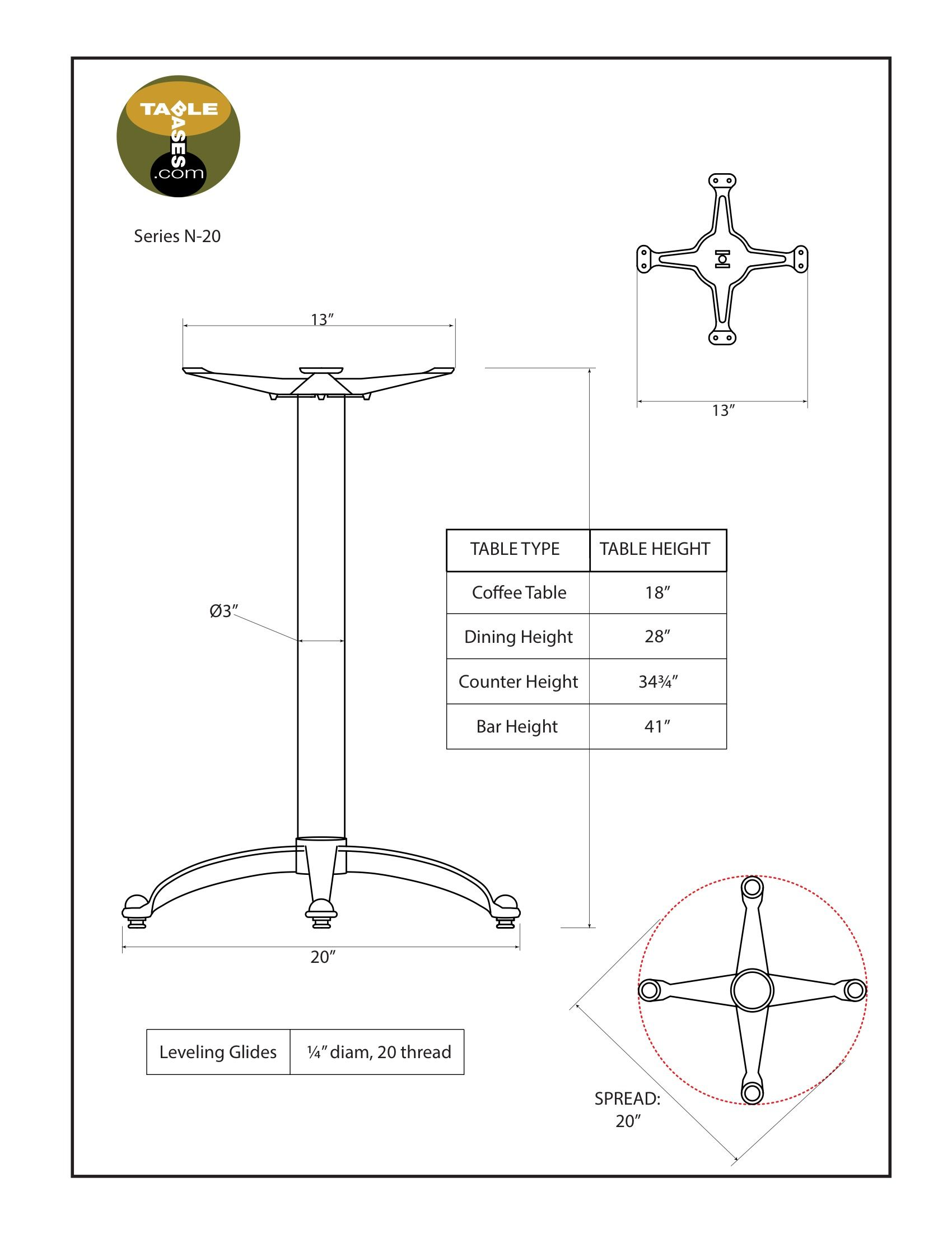 N20 Black Table Base - Specifications