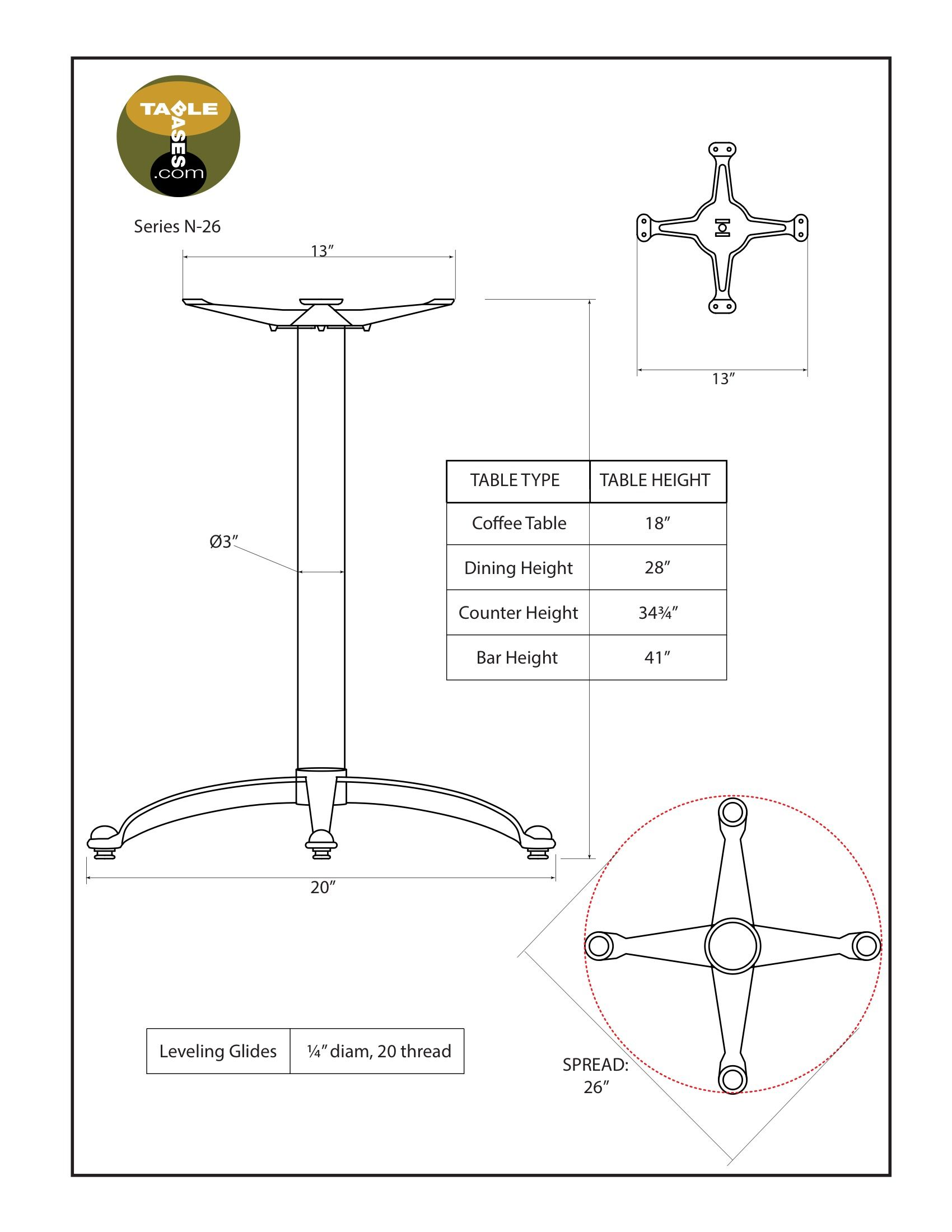 N26 Black Table Base - Specifications
