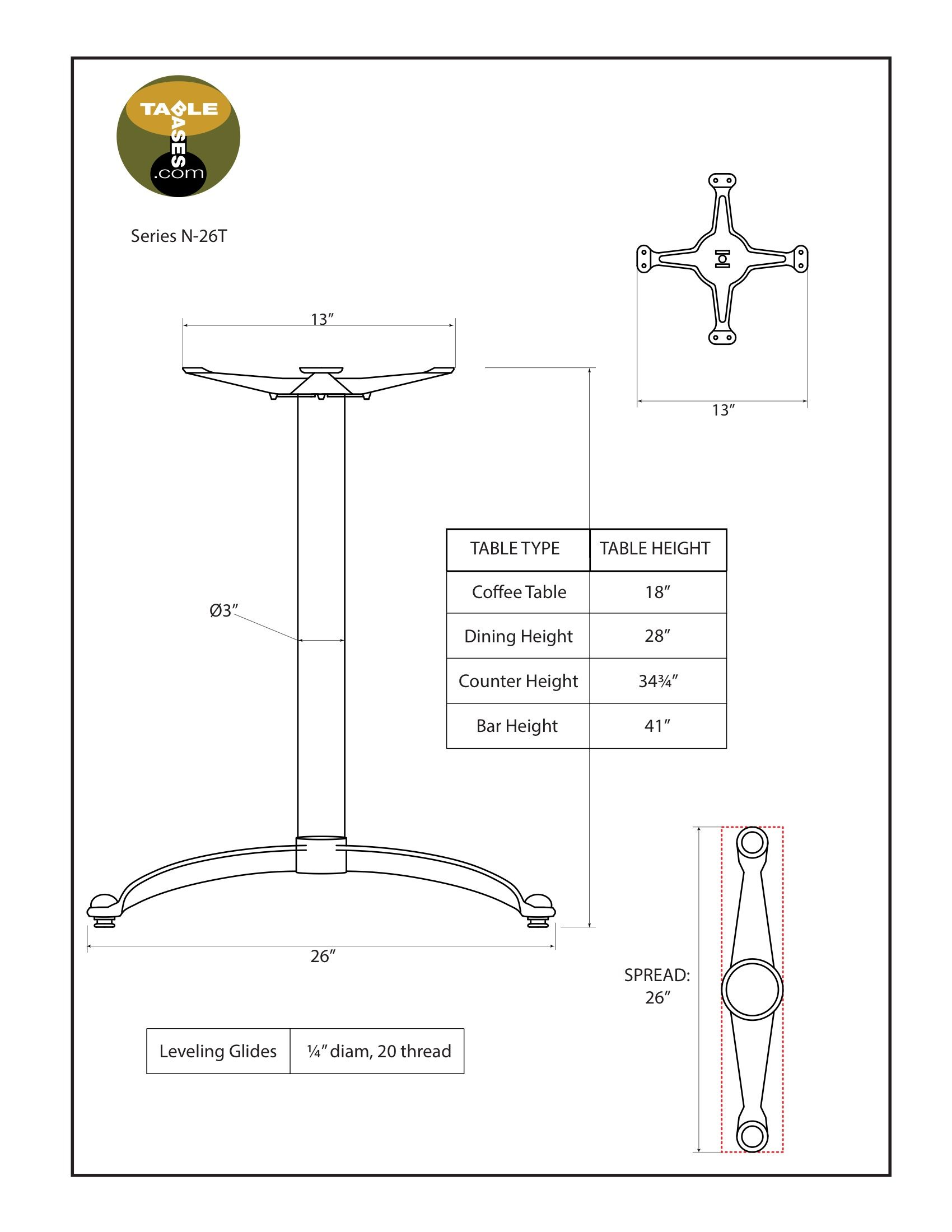 N26T Black Table Base - Specifications