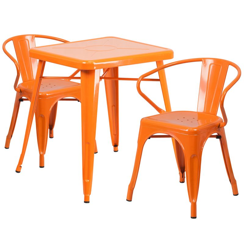 """24"""" Square Metal Cafe Table with Two Arm Chairs - Orange"""
