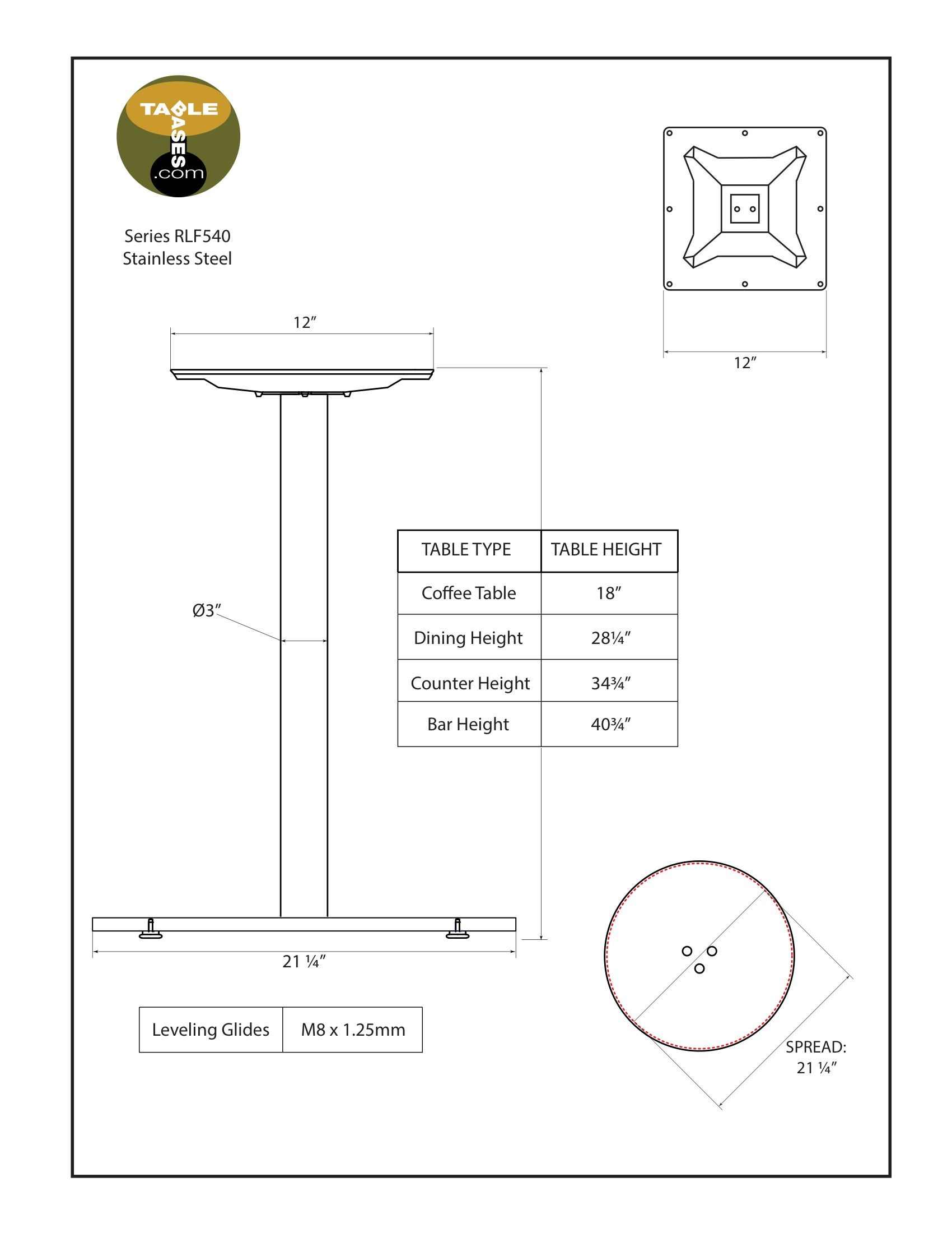 RFL540 Stainless Steel Table Base Specifications