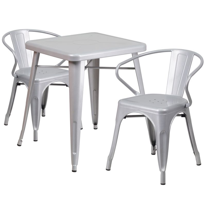 """24"""" Square Metal Cafe Table with Two Arm Chairs - Silver"""