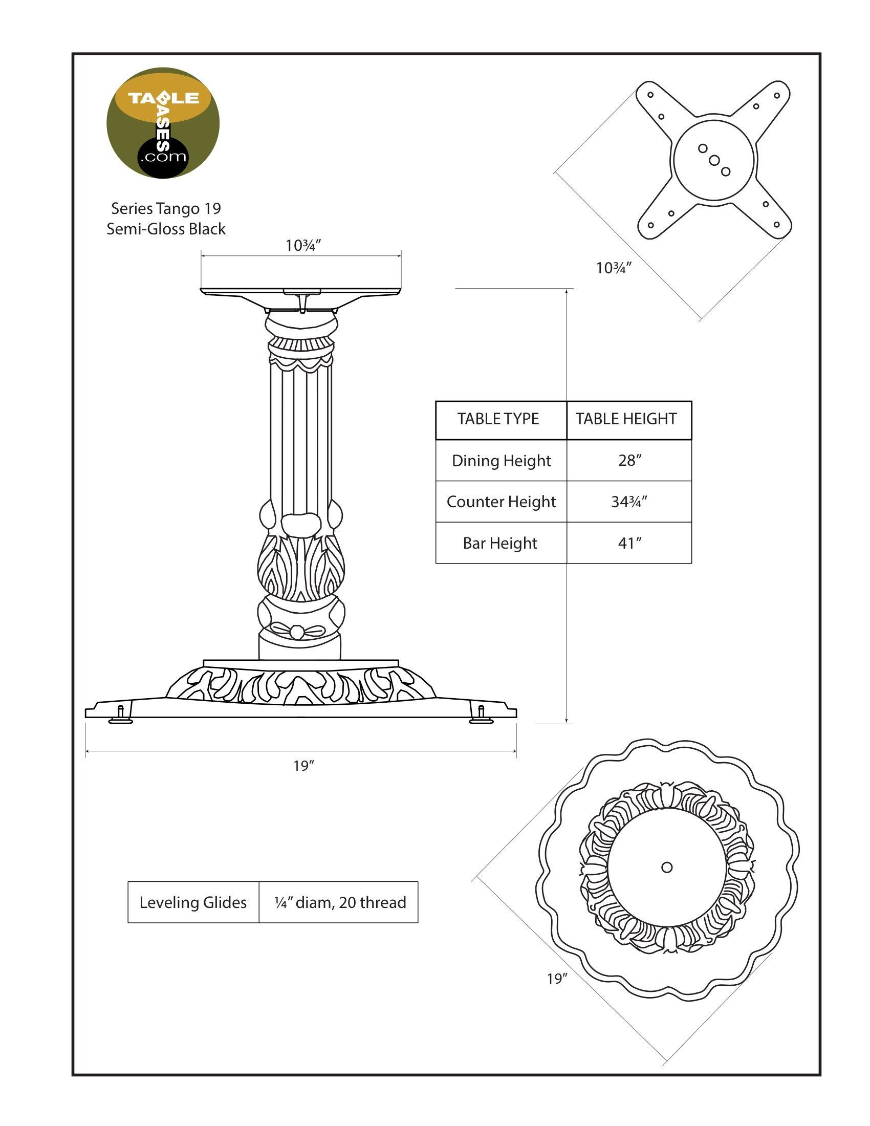 Tango-19 Semi-Gloss Black Table Base - Specifications